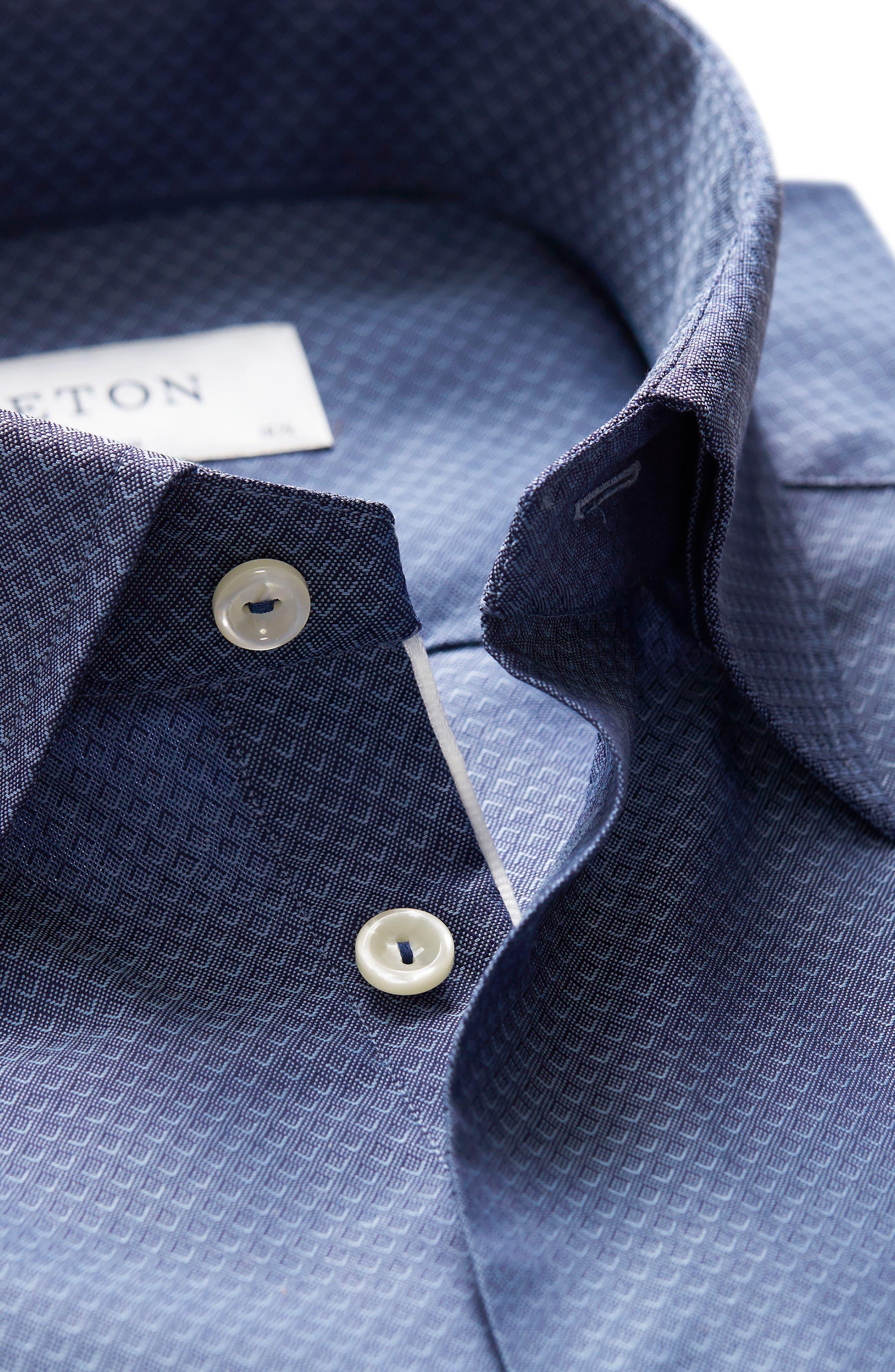 Slim Fit Diamond Print Dress Shirt,                             Alternate thumbnail 3, color,                             Blue