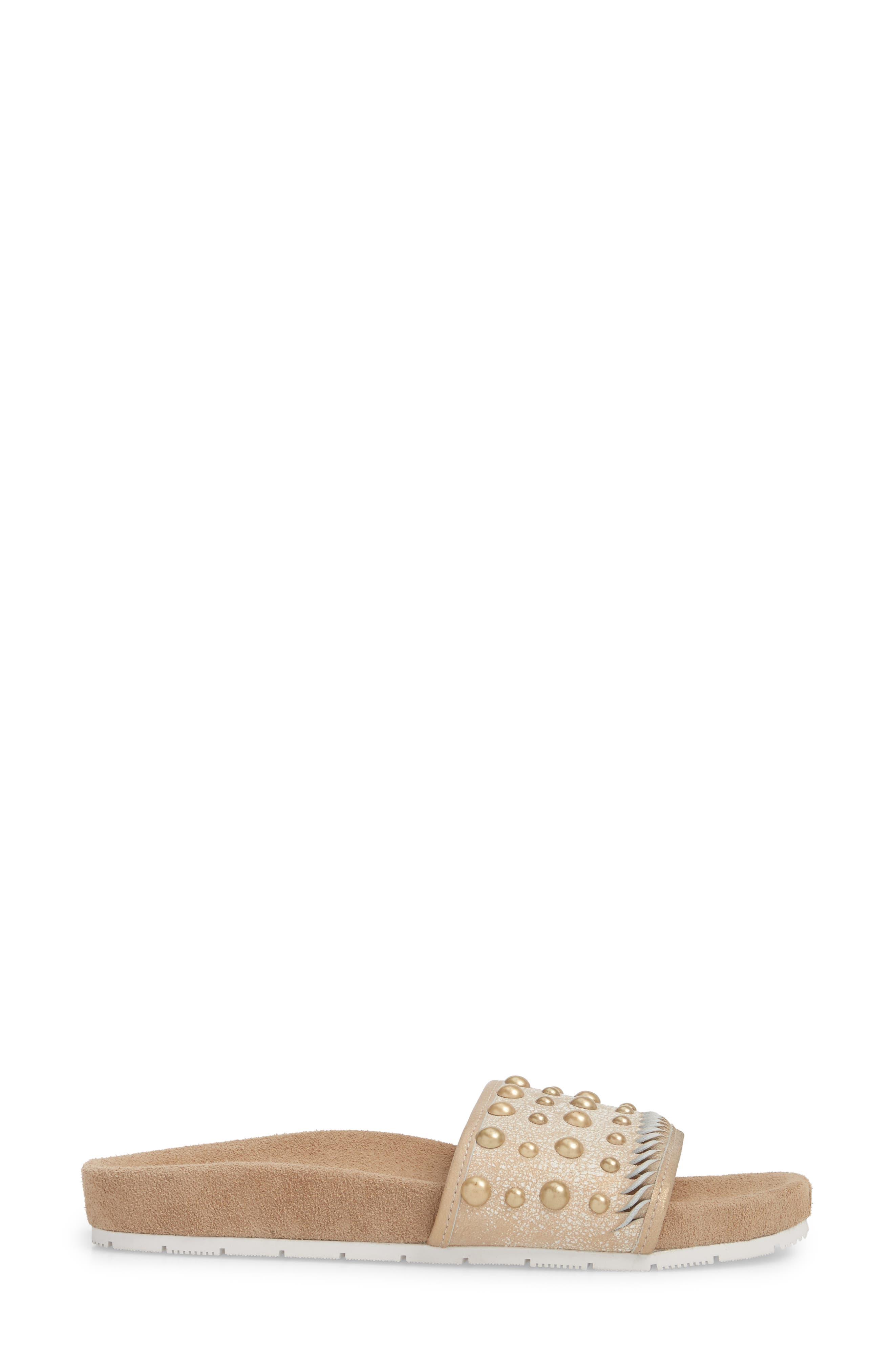Nora Studded Slide Sandal,                             Alternate thumbnail 3, color,                             Bronze Suede