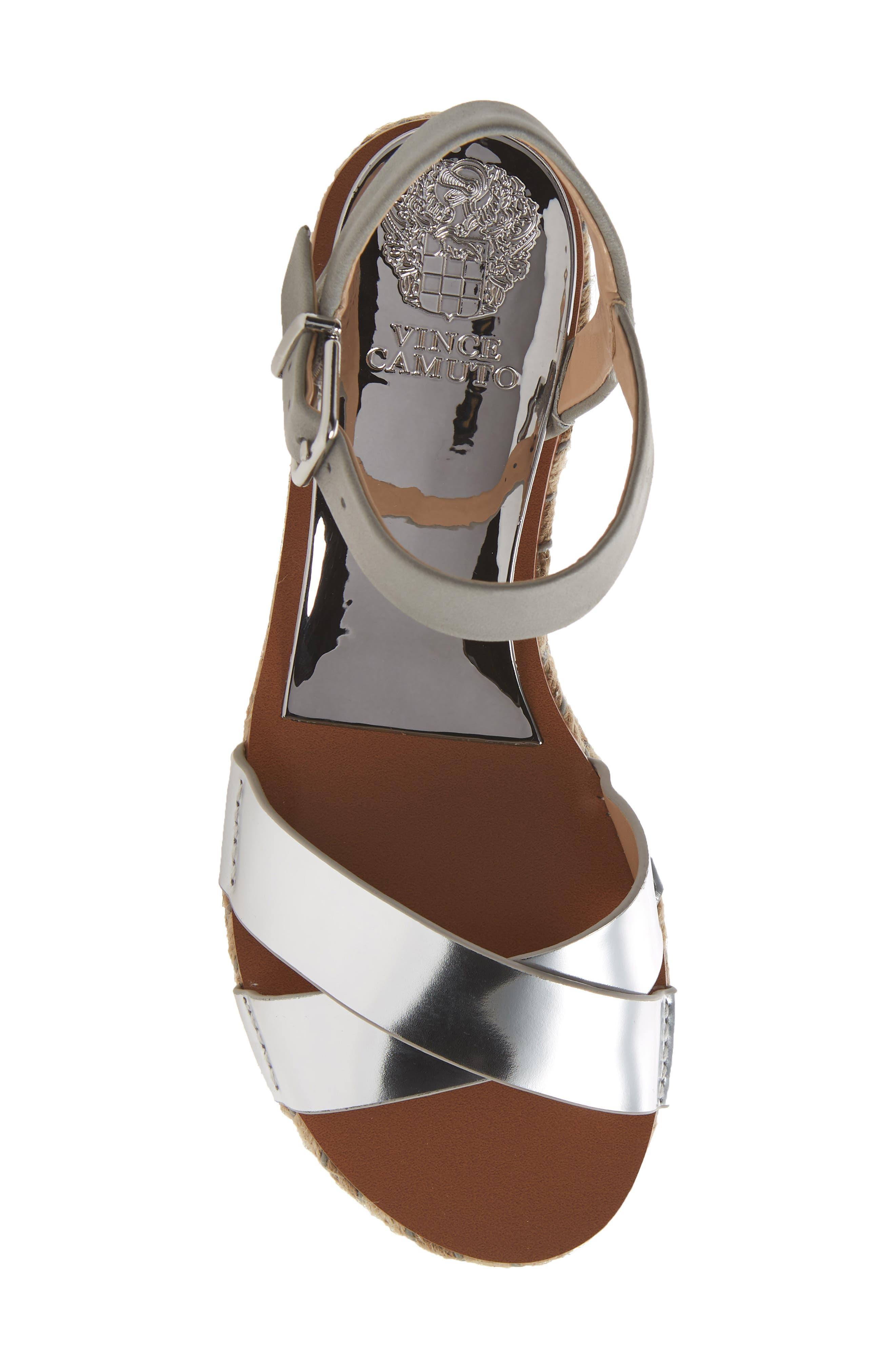 Kankitta Sandal,                             Alternate thumbnail 5, color,                             Cloudy Grey Combo Leather