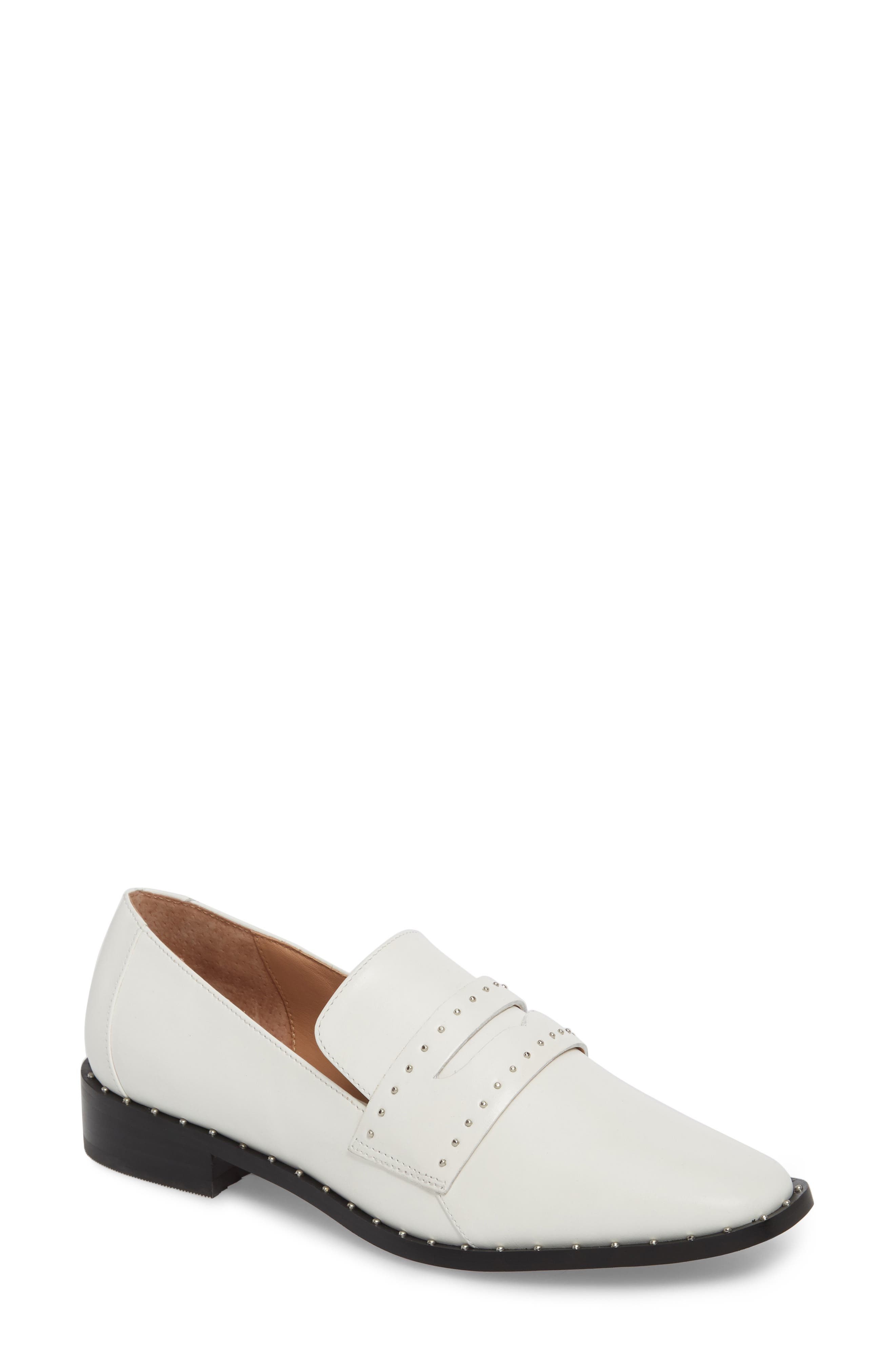 Tara Penny Loafer,                             Main thumbnail 1, color,                             Off White Leather
