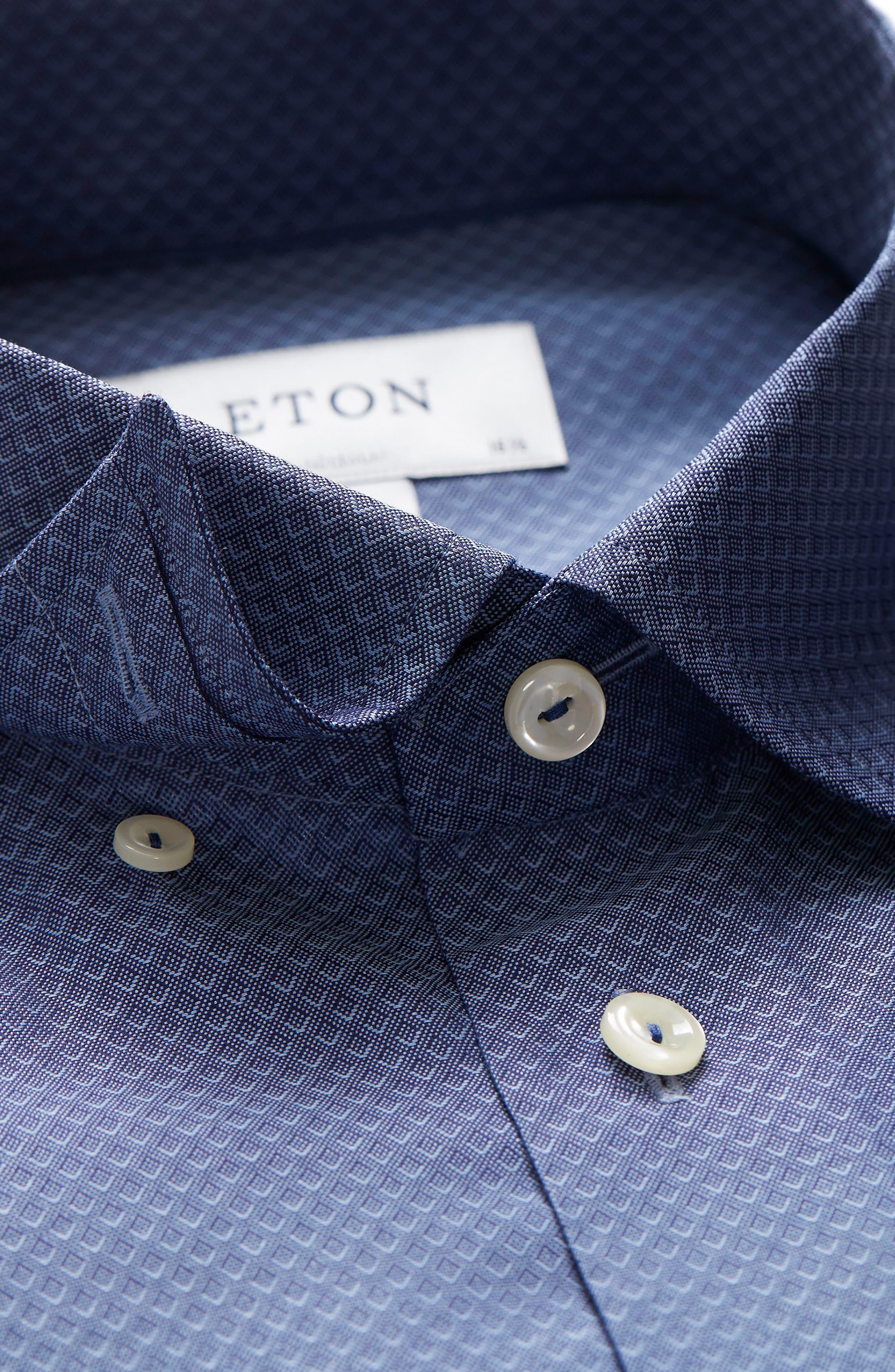 Slim Fit Diamond Print Dress Shirt,                             Alternate thumbnail 2, color,                             Blue