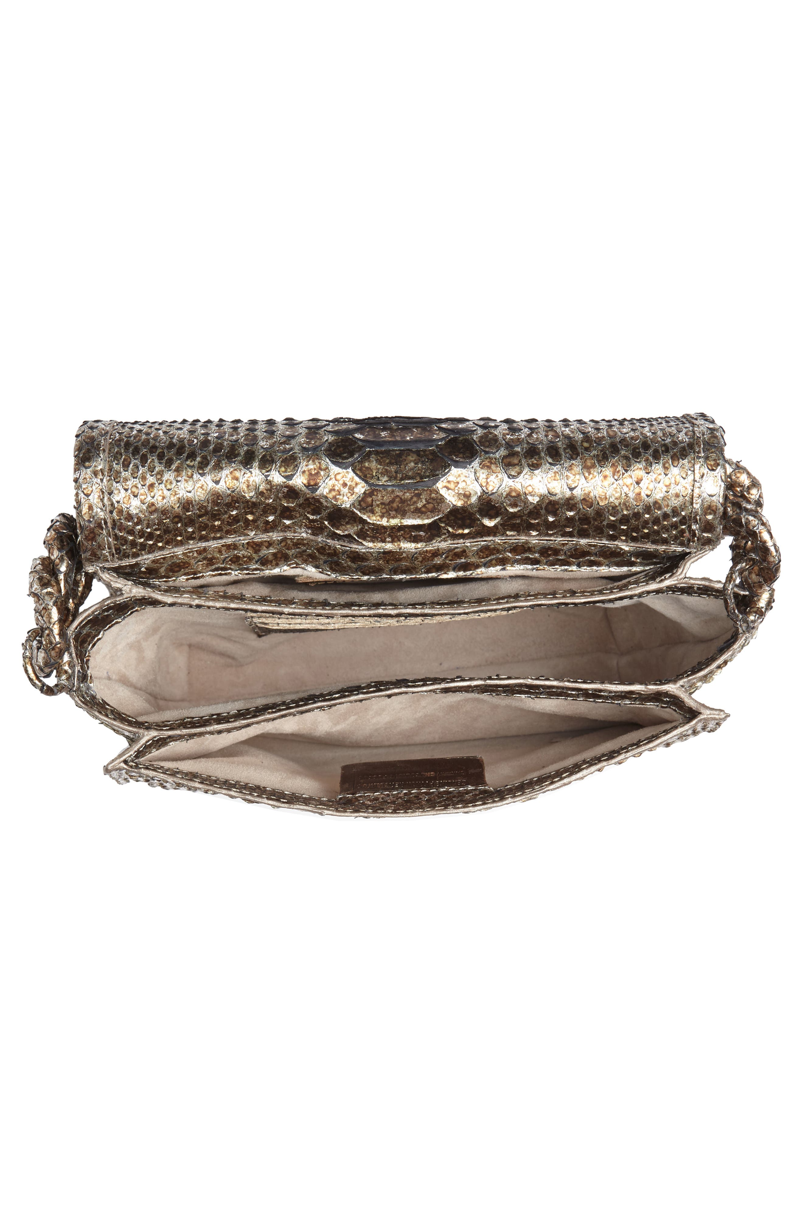 Small Carrie Genuine Crocodile Metallic Clutch,                             Alternate thumbnail 3, color,                             Metallic Gold