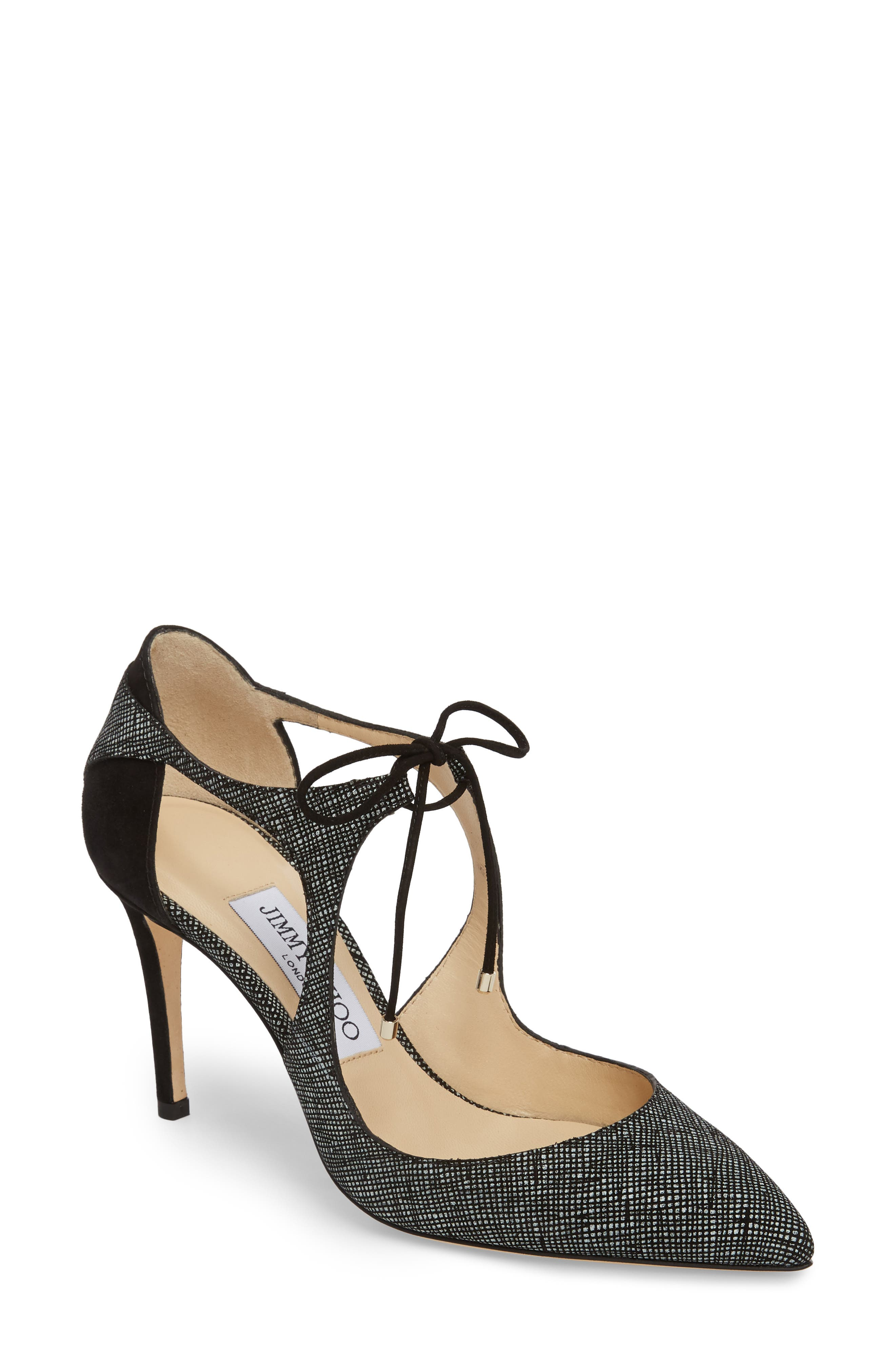 7fb8b687fb27 JIMMY CHOO Vanessa 85 Black Suede And Nappa Leather Pointy Toe Pumps ...