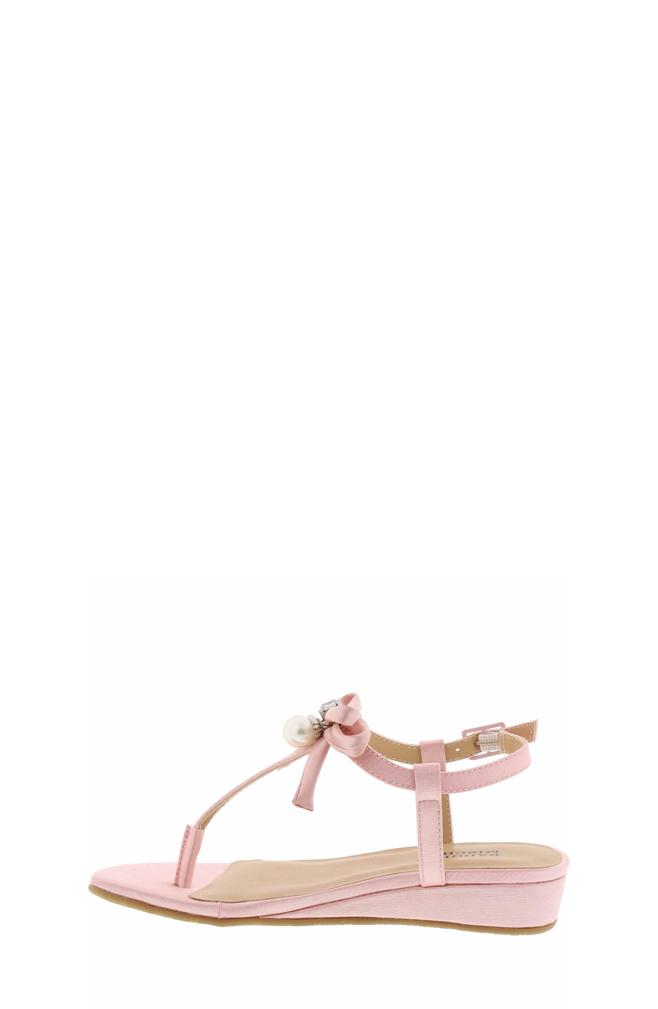 Talia Embellished Bow Sandal,                             Alternate thumbnail 3, color,                             Light Pink
