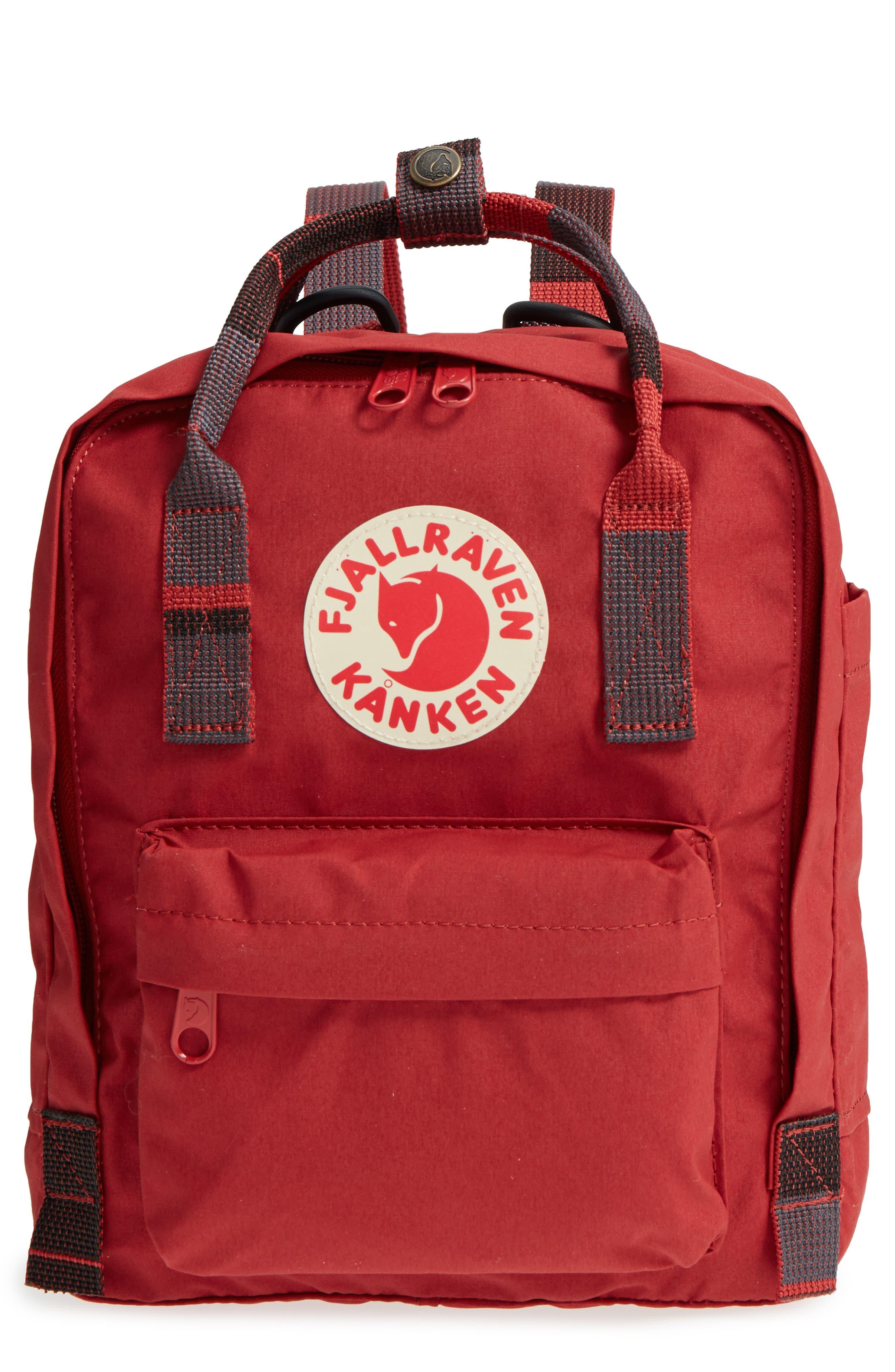 'Mini Kånken' Water Resistant Backpack,                             Main thumbnail 1, color,                             Deep Red Blocked