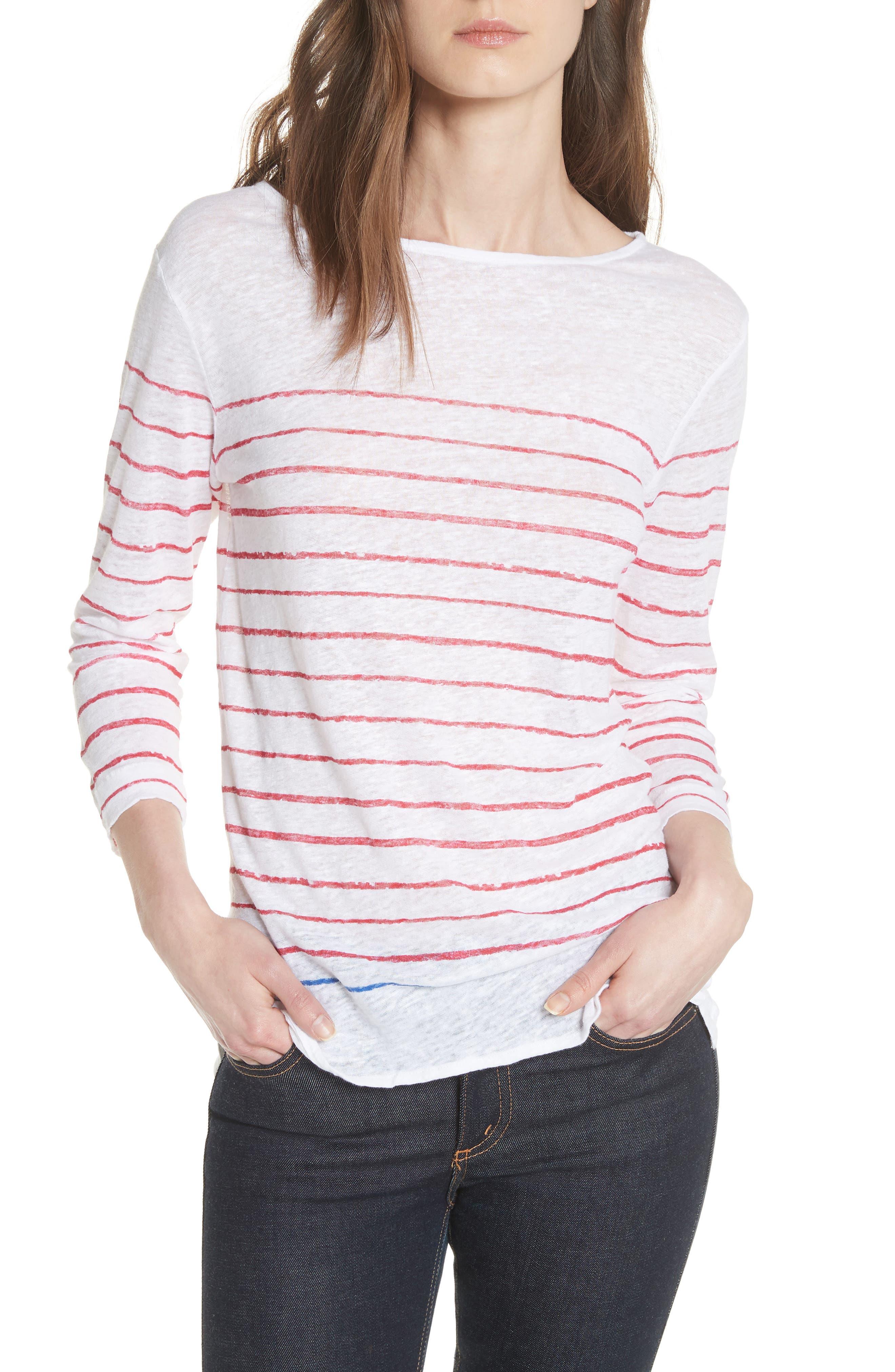 Stripe Three Quarter Sleeve Tee,                         Main,                         color, Rouge/ Indigo Blue