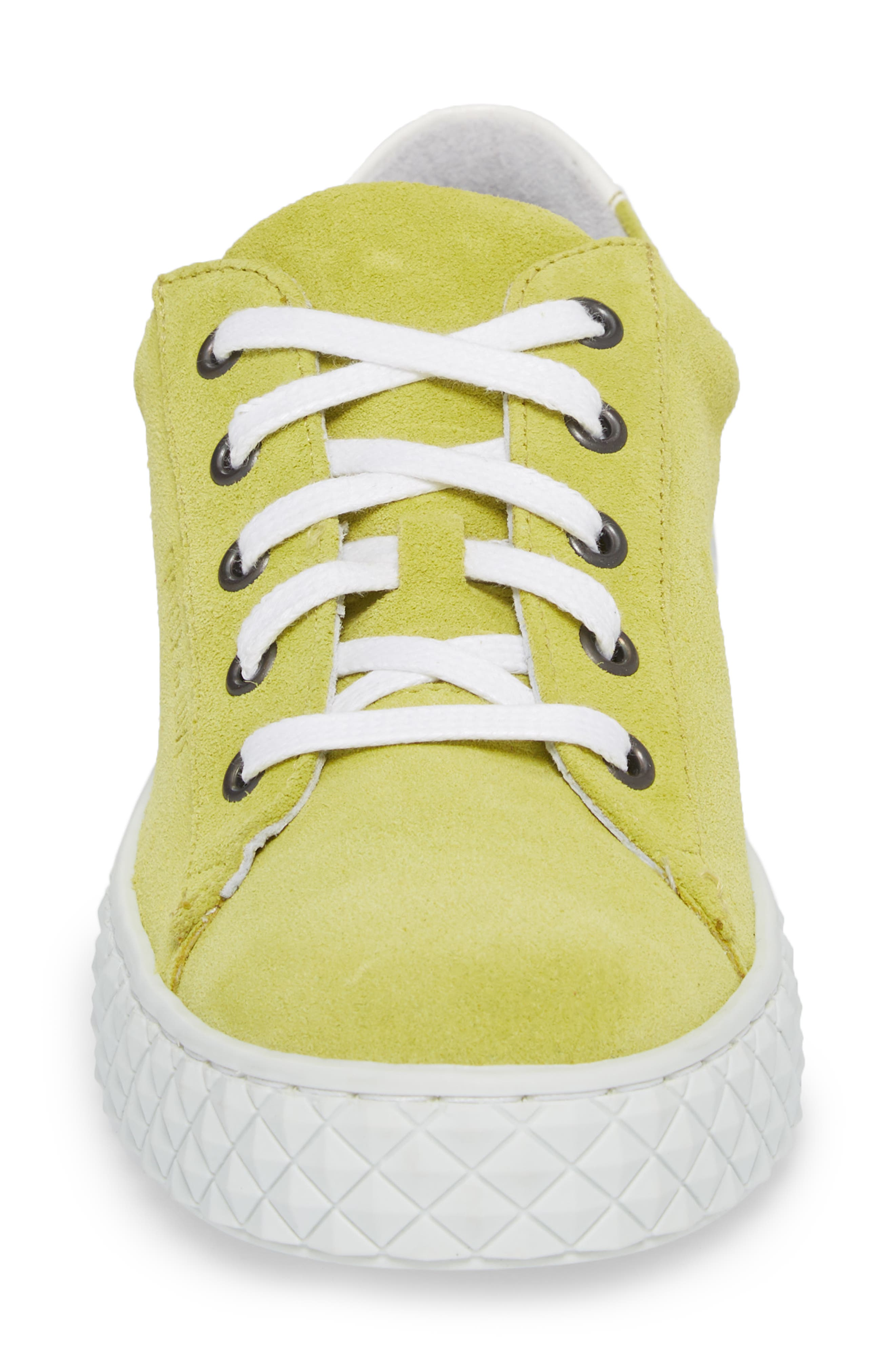 Albufeira Sneaker,                             Alternate thumbnail 4, color,                             Lime/ Optic White Suede