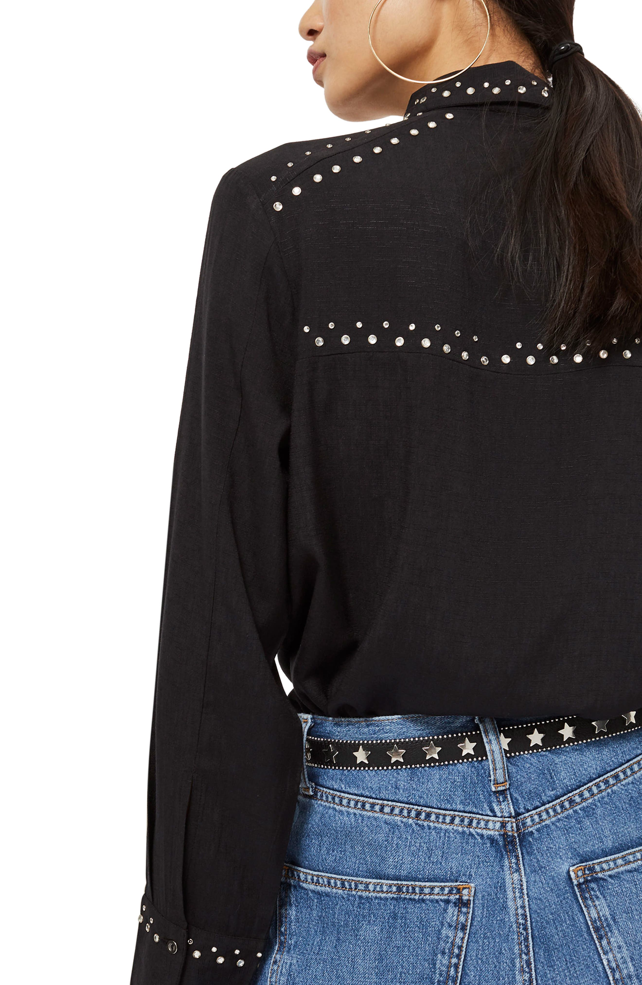 Rodeo Stud Embroidered Shirt,                             Alternate thumbnail 3, color,                             Black Multi