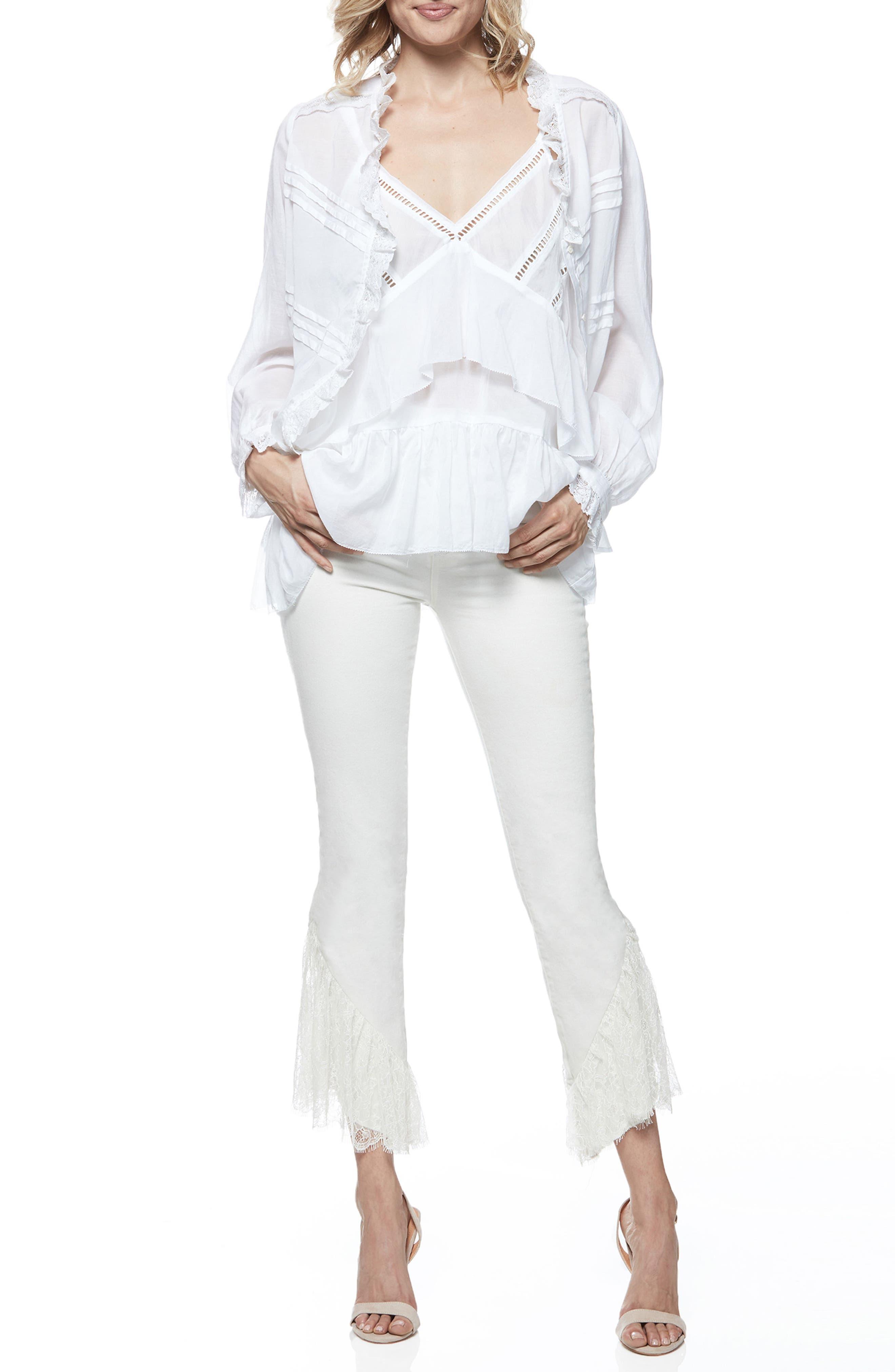 Hoxton Lace Hem High Waist Ankle Straight Leg Jeans,                             Alternate thumbnail 3, color,                             Poodle White