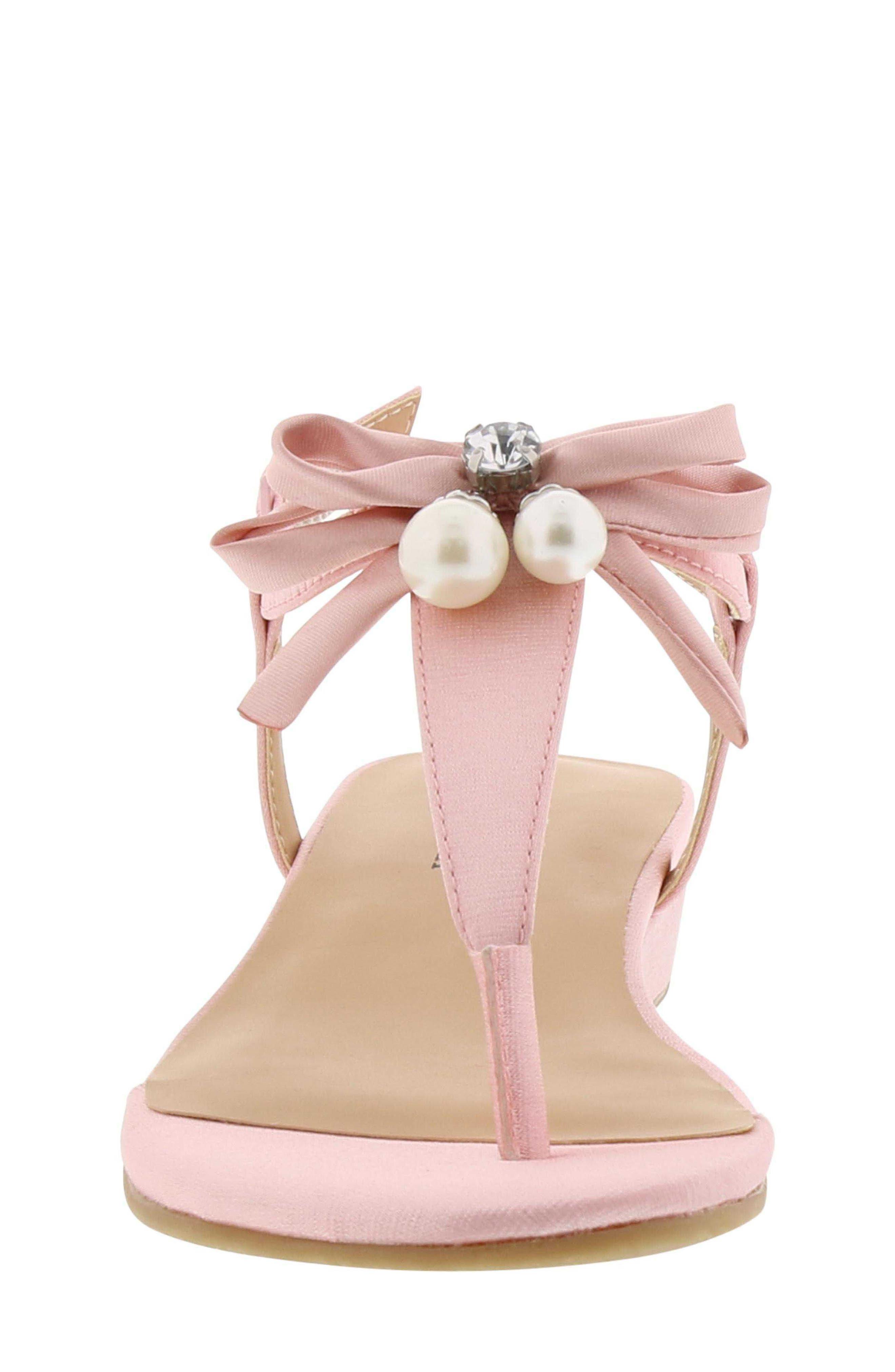 Talia Embellished Bow Sandal,                             Alternate thumbnail 4, color,                             Light Pink