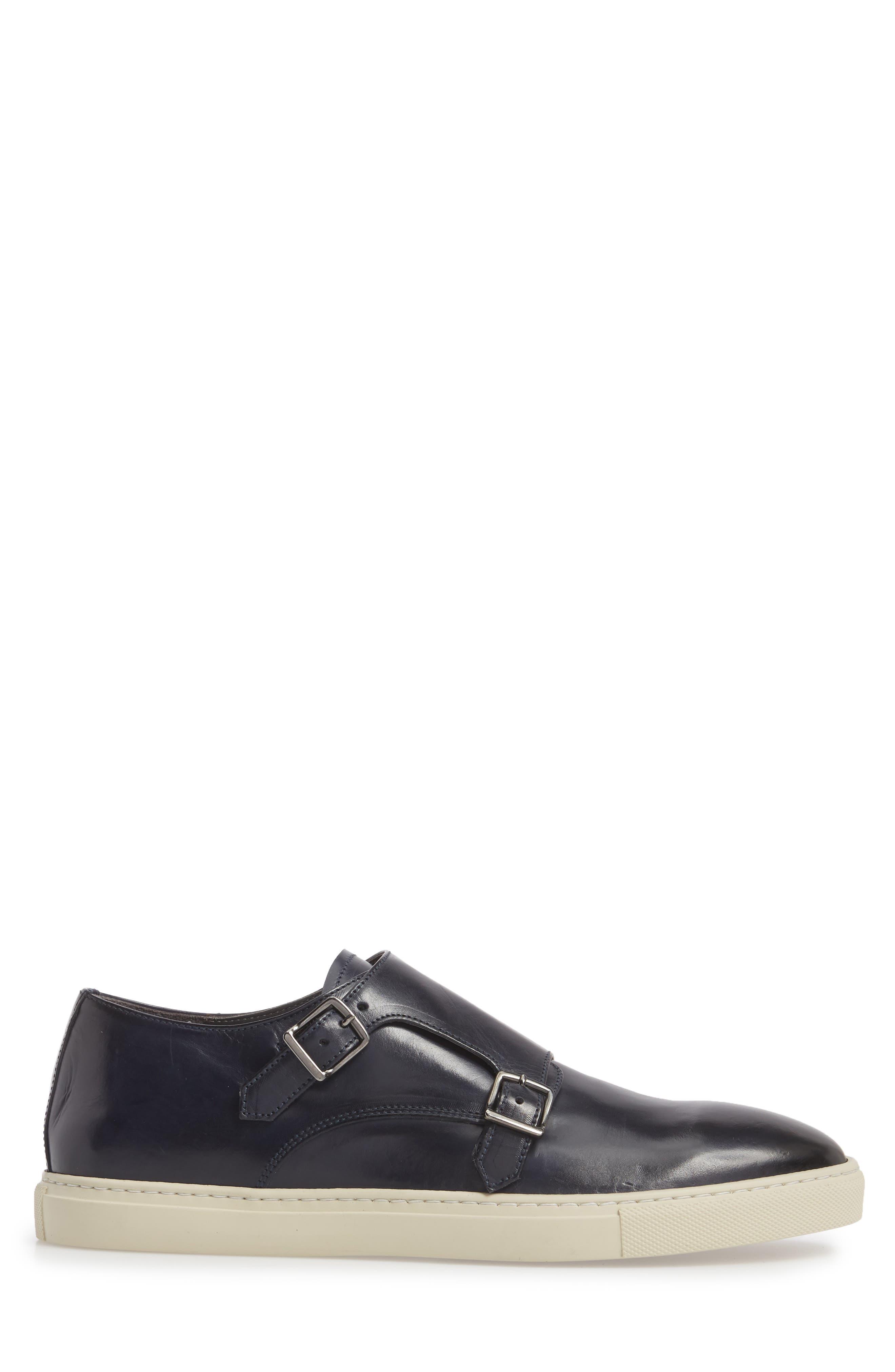 Gildden Double Monk Strap Sneaker,                             Alternate thumbnail 3, color,                             Diver Blue Marine Leather