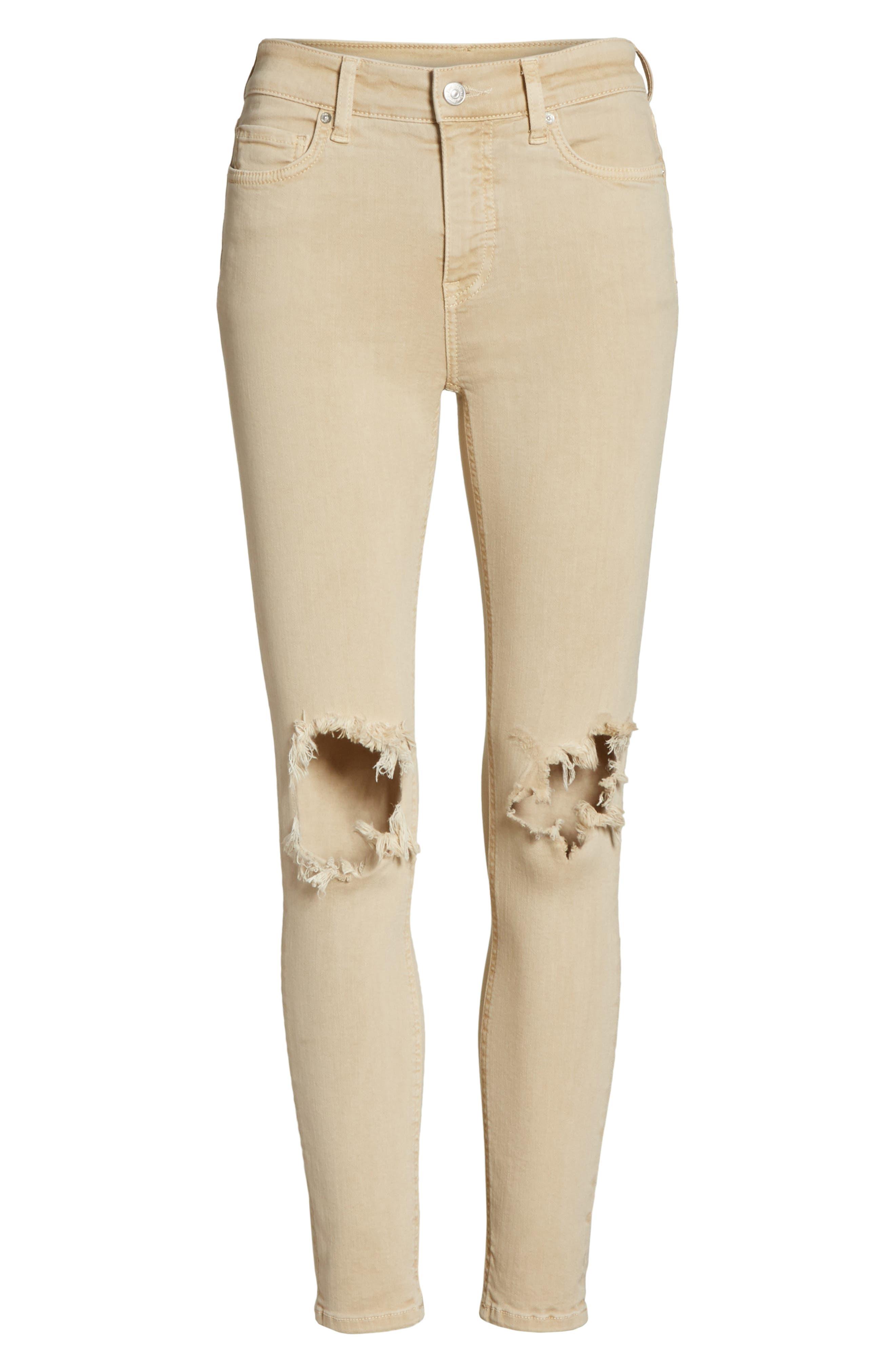 High Waist Busted Knee Skinny Jeans,                             Alternate thumbnail 6, color,                             Khaki