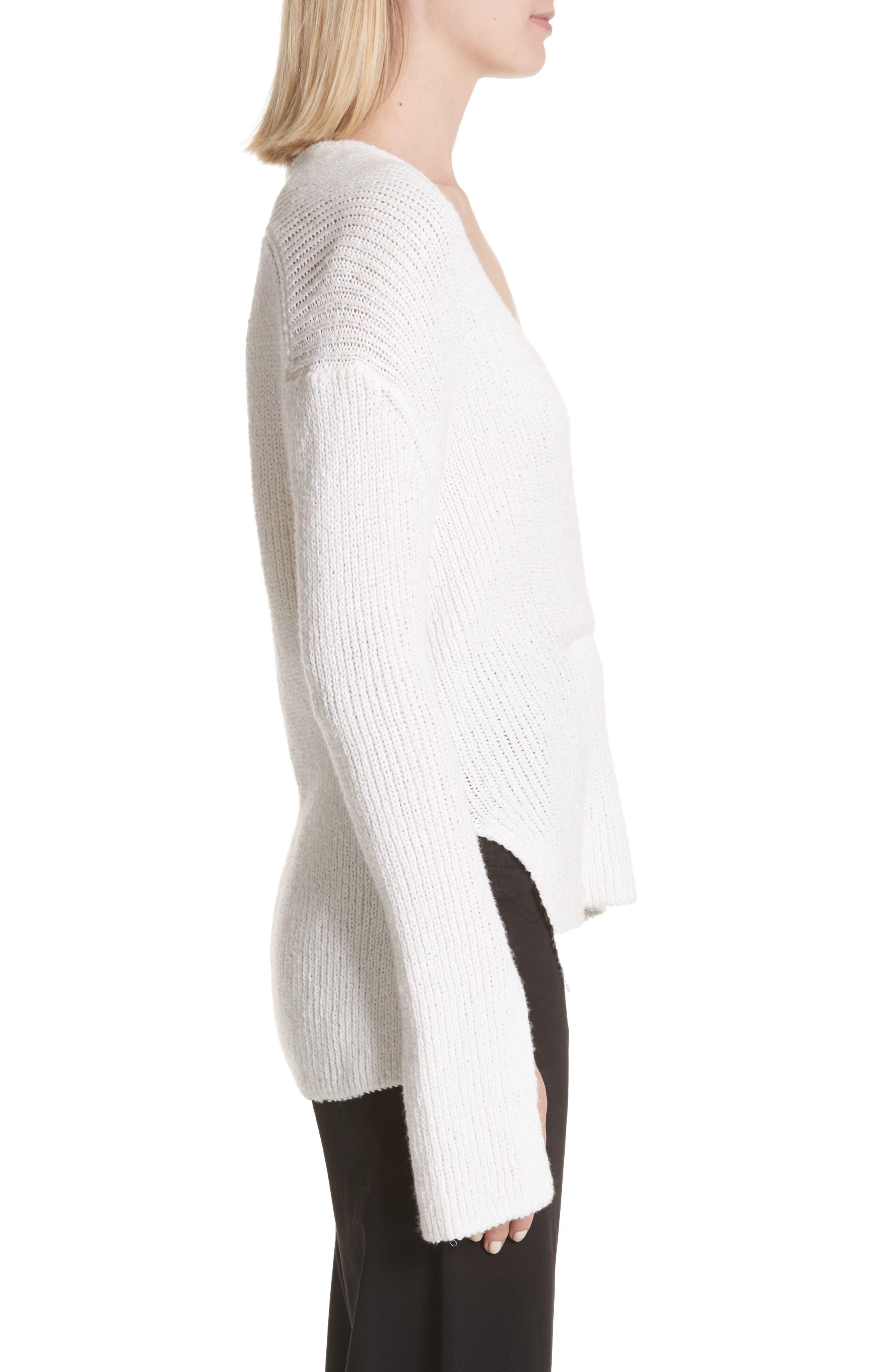 Nick Cotton Sweater,                             Alternate thumbnail 3, color,                             White