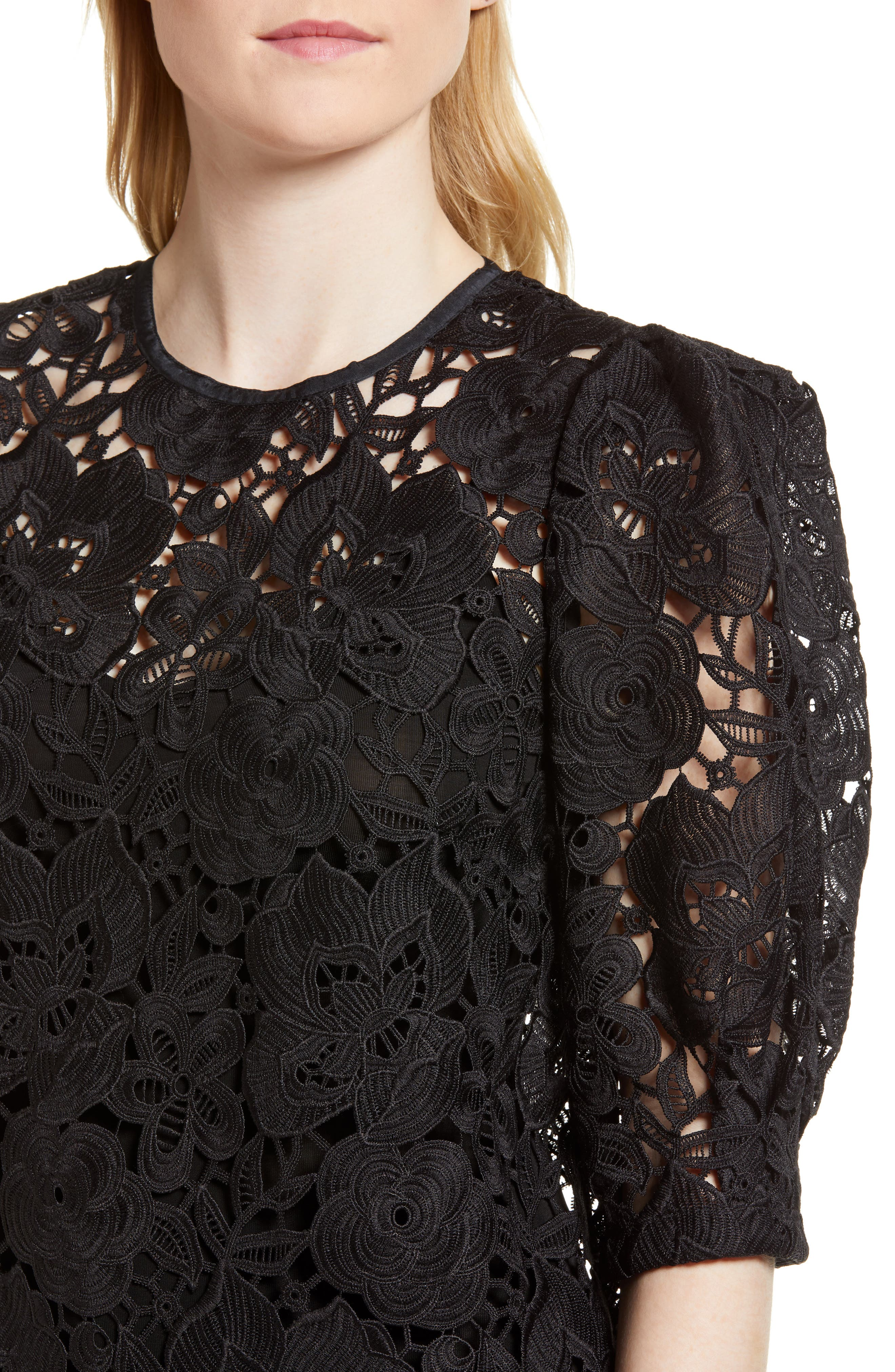 Puff Sleeve Lace Blouse,                             Alternate thumbnail 4, color,                             Black