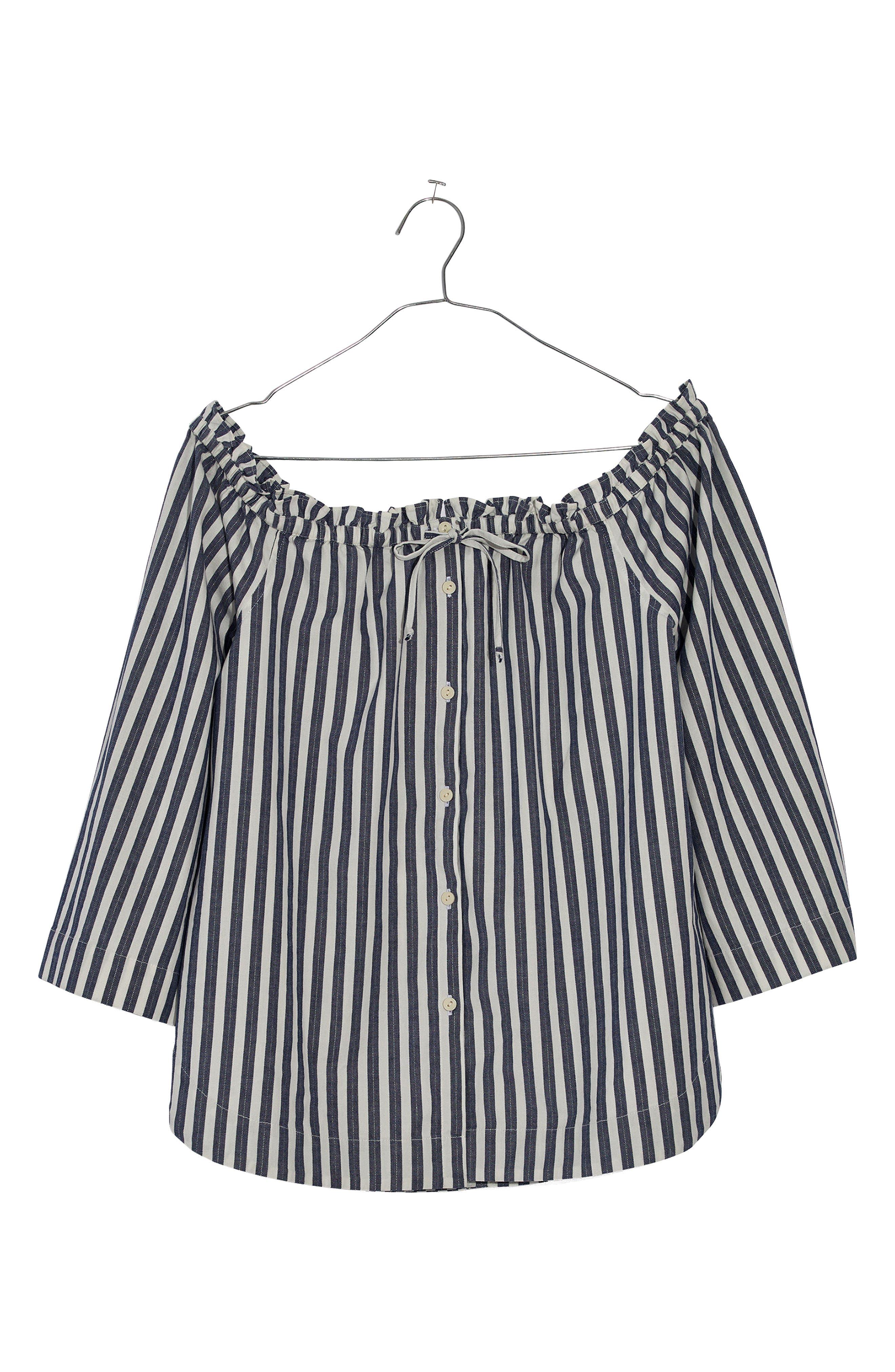 Shimmer Stripe Off the Shoulder Top,                             Alternate thumbnail 3, color,                             Amelia Stripe