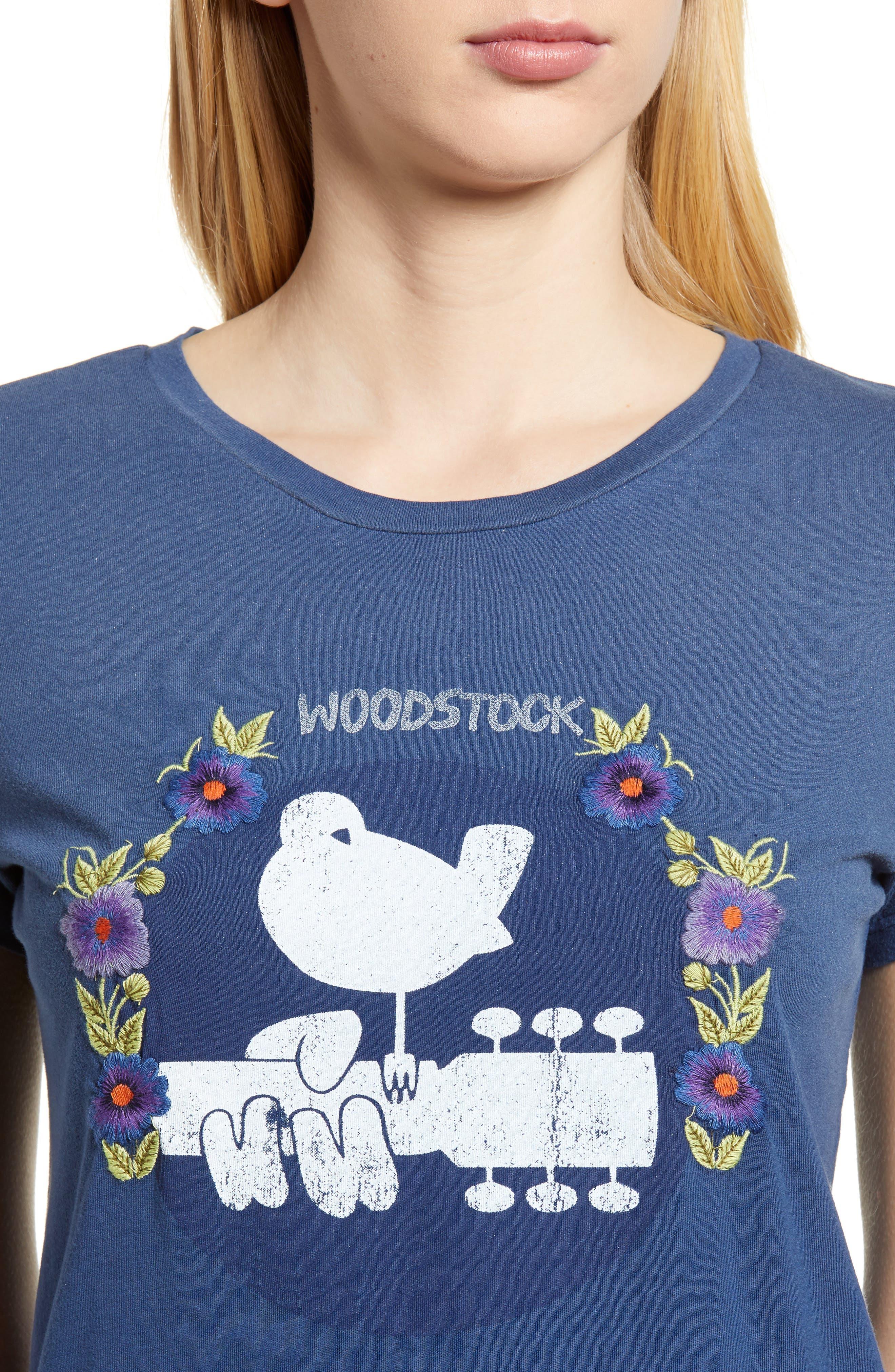Embroidered Woodstock Tee,                             Alternate thumbnail 4, color,                             Indigo