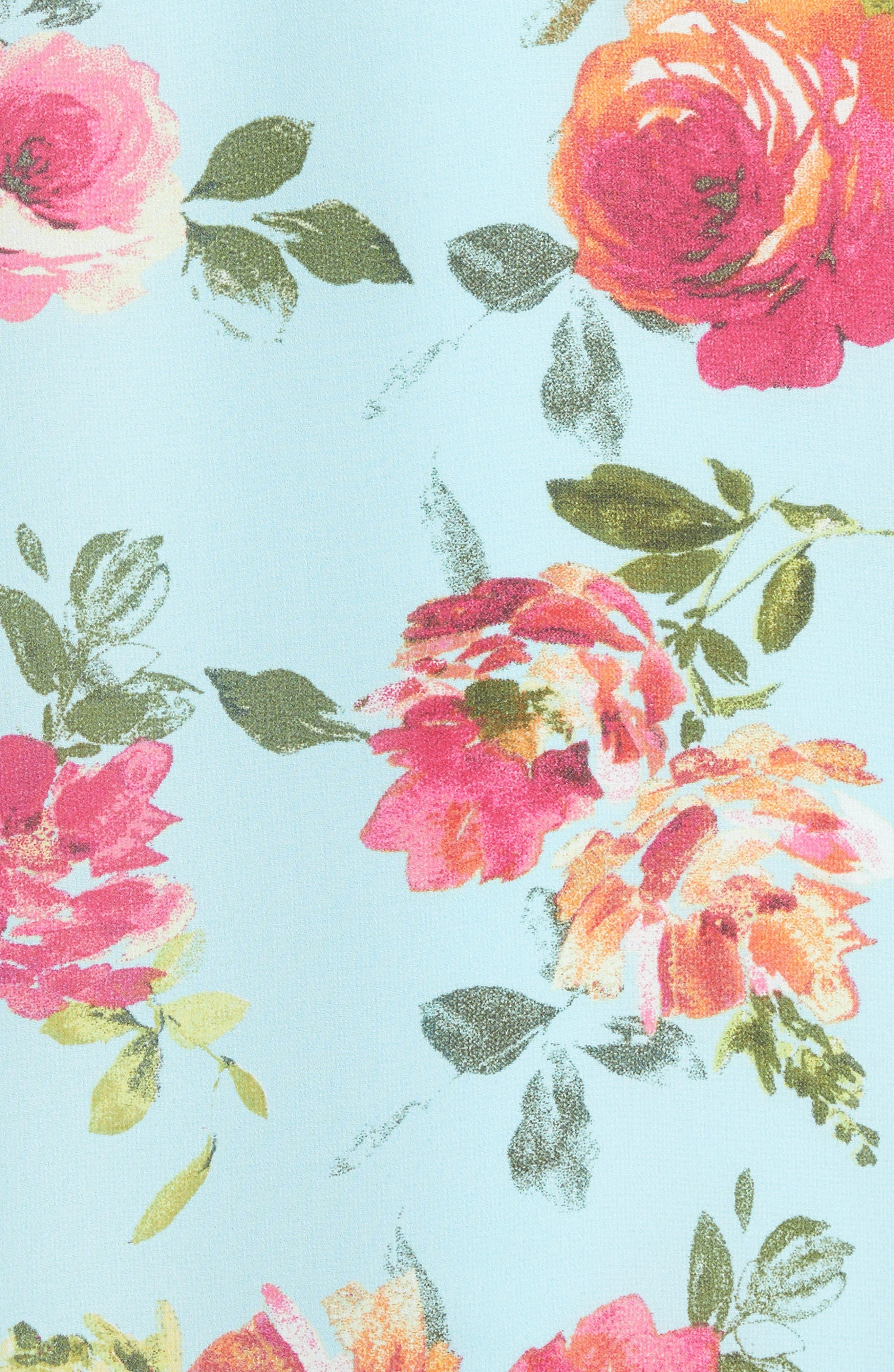 Sela Shift Floral Dress,                             Alternate thumbnail 5, color,                             Sky Blue