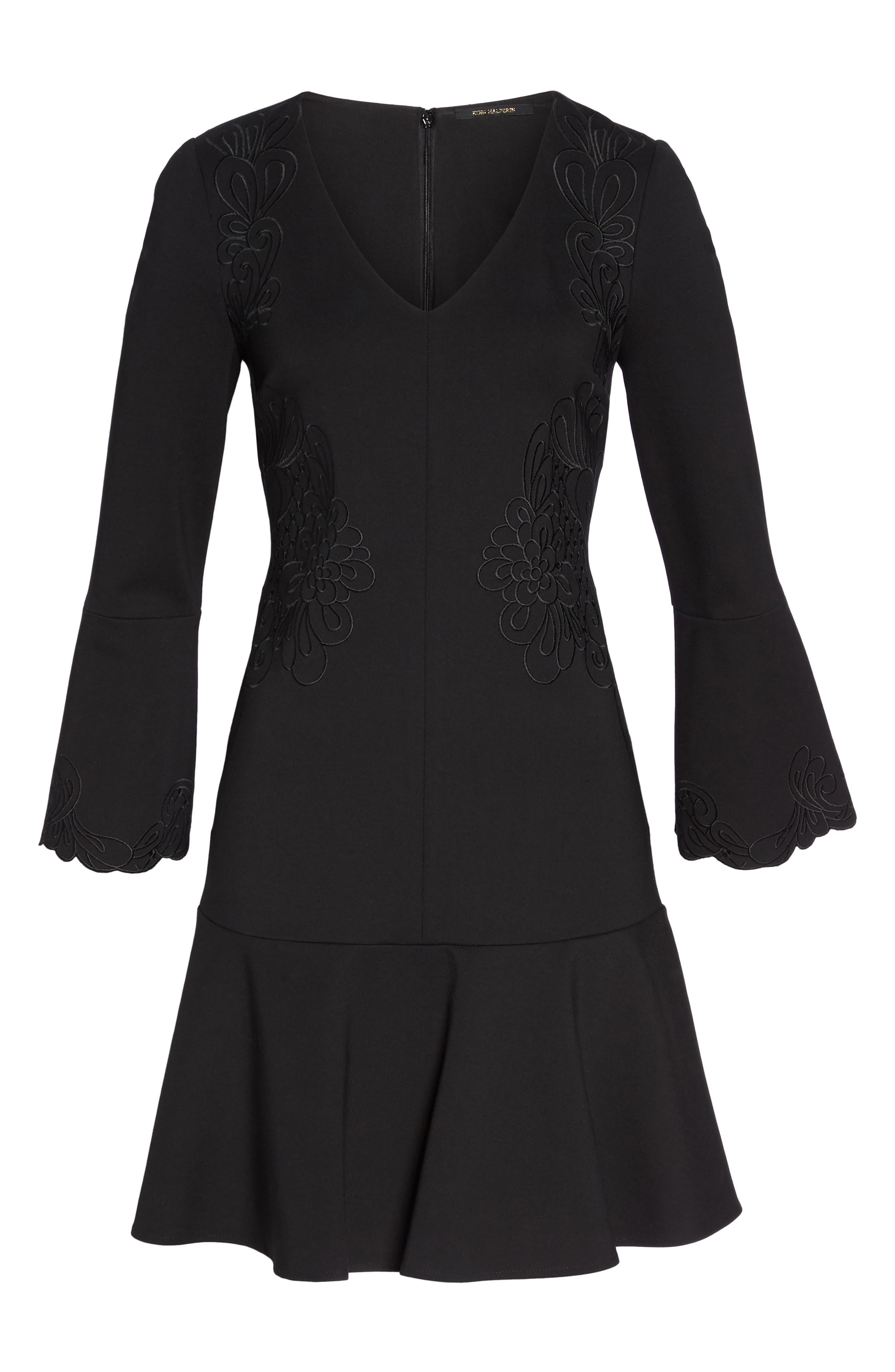 Devyn Embroidered Fit & Flare Dress,                             Alternate thumbnail 6, color,                             Black