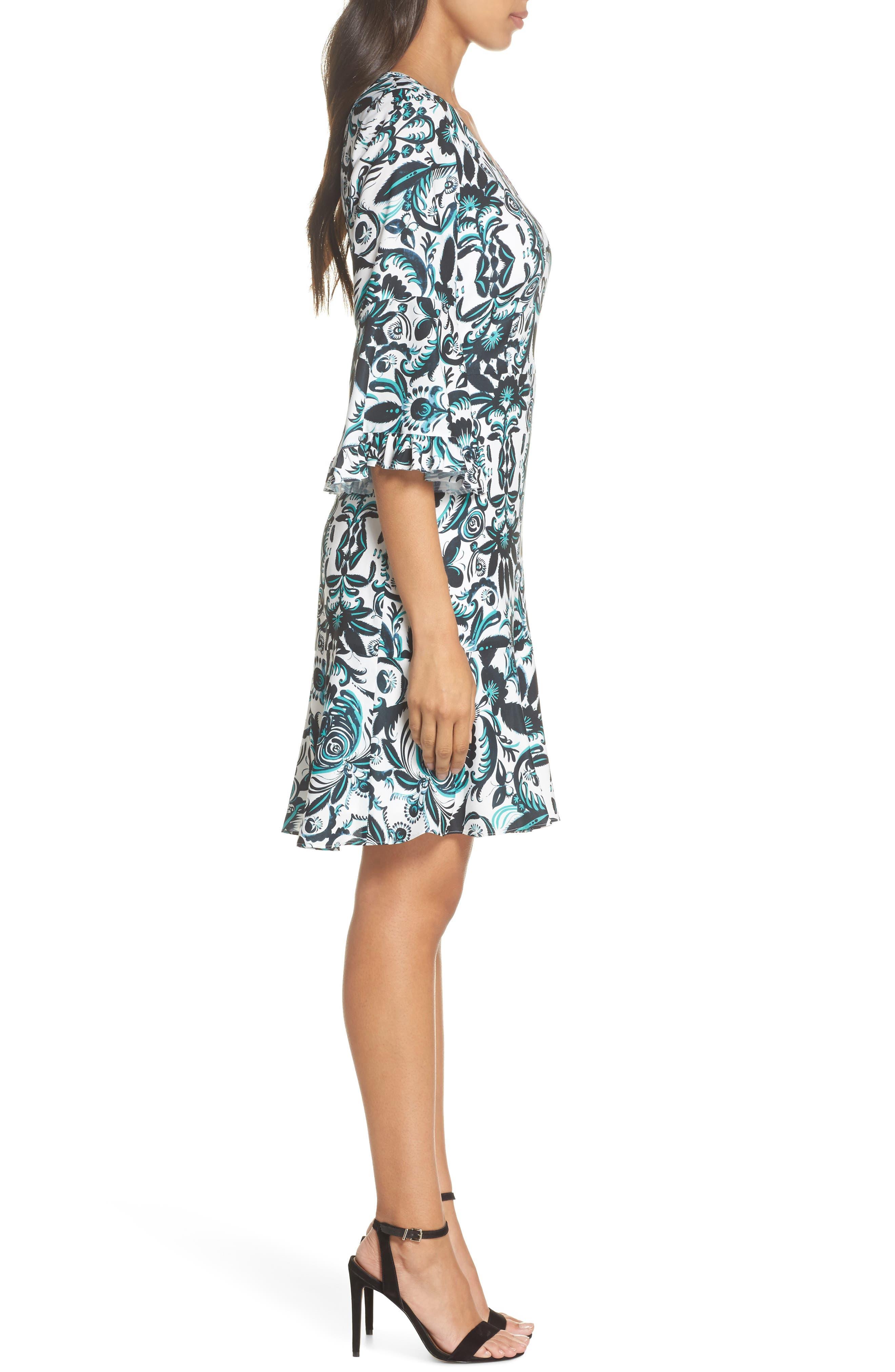 Scottie Fit & Flare Dress,                             Alternate thumbnail 3, color,                             White Multi