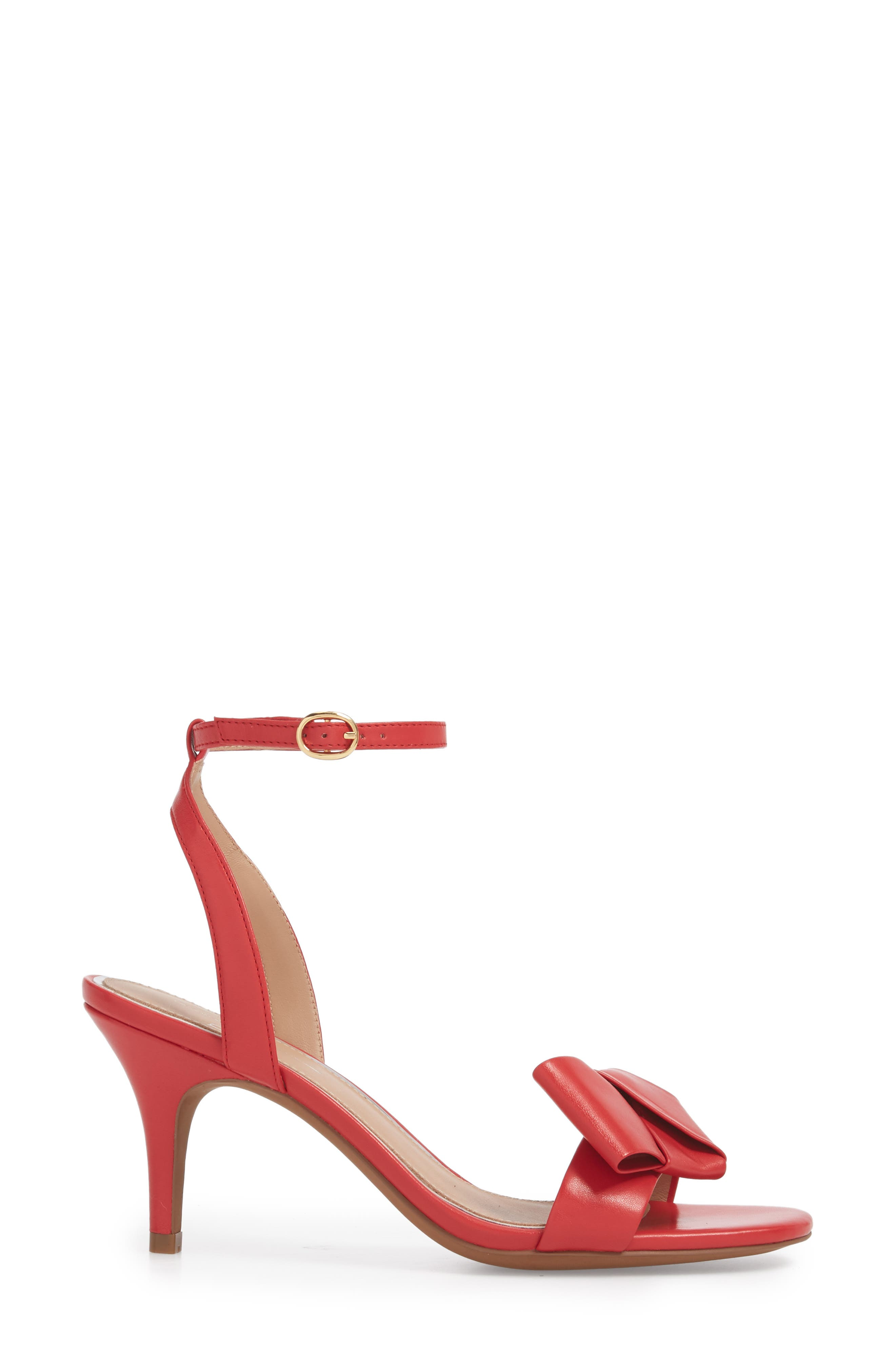 Haven Ankle Strap Sandal,                             Alternate thumbnail 3, color,                             Red Leather