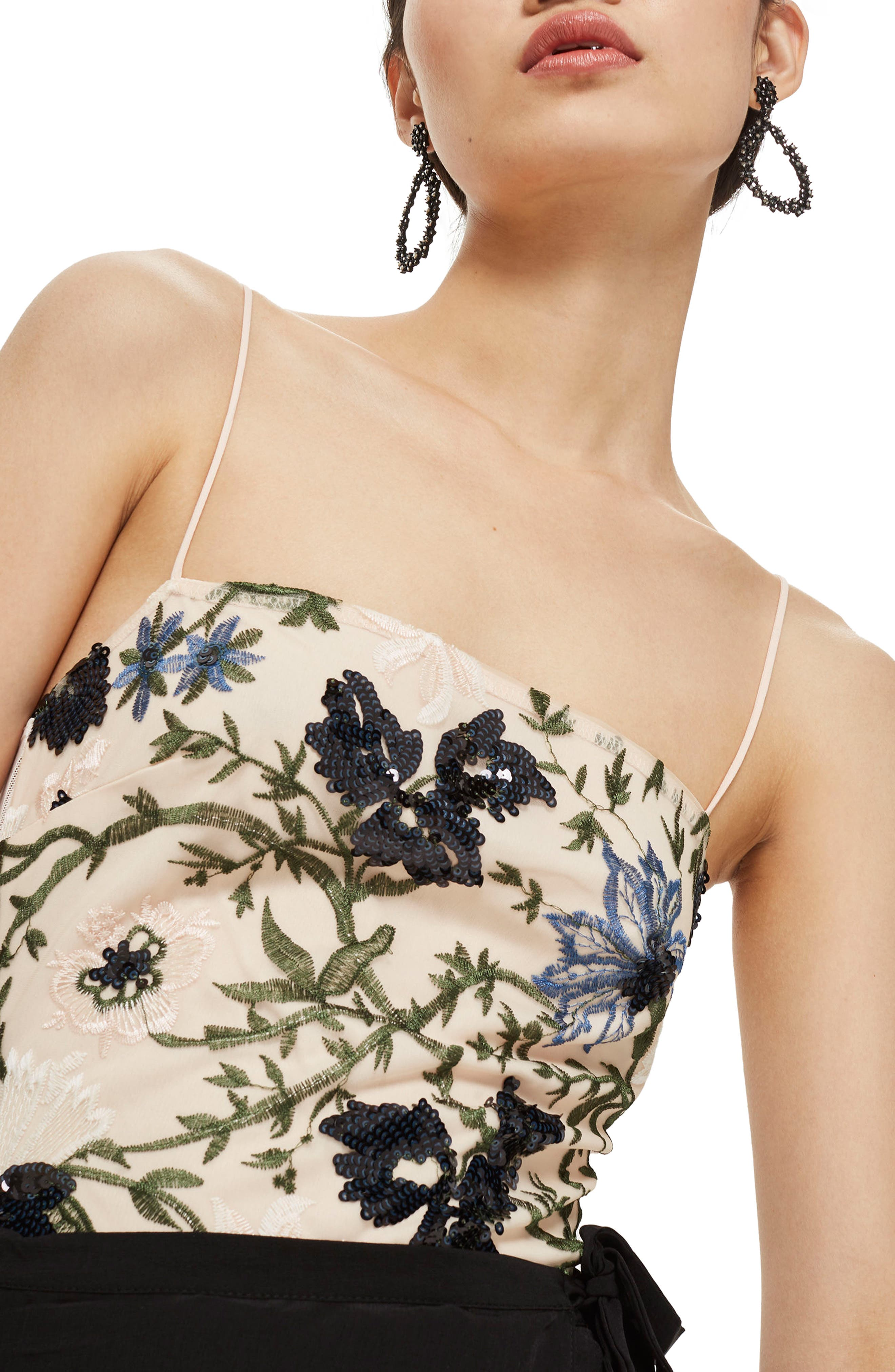 Square Neck Floral Sequin Bodysuit,                             Main thumbnail 1, color,                             Nude Multi