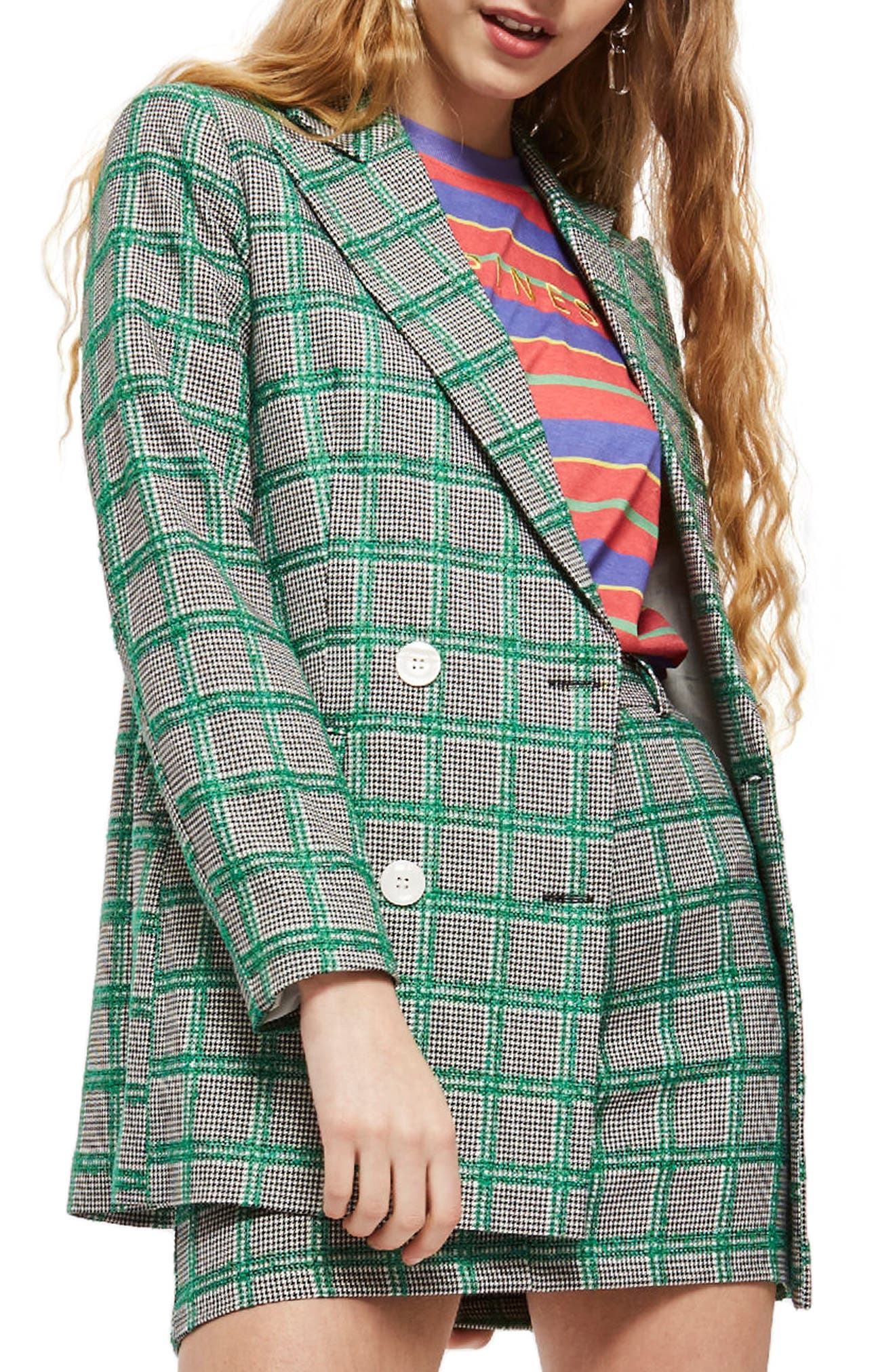 Double Breasted Windowpane Plaid Jacket,                         Main,                         color, Green Multi