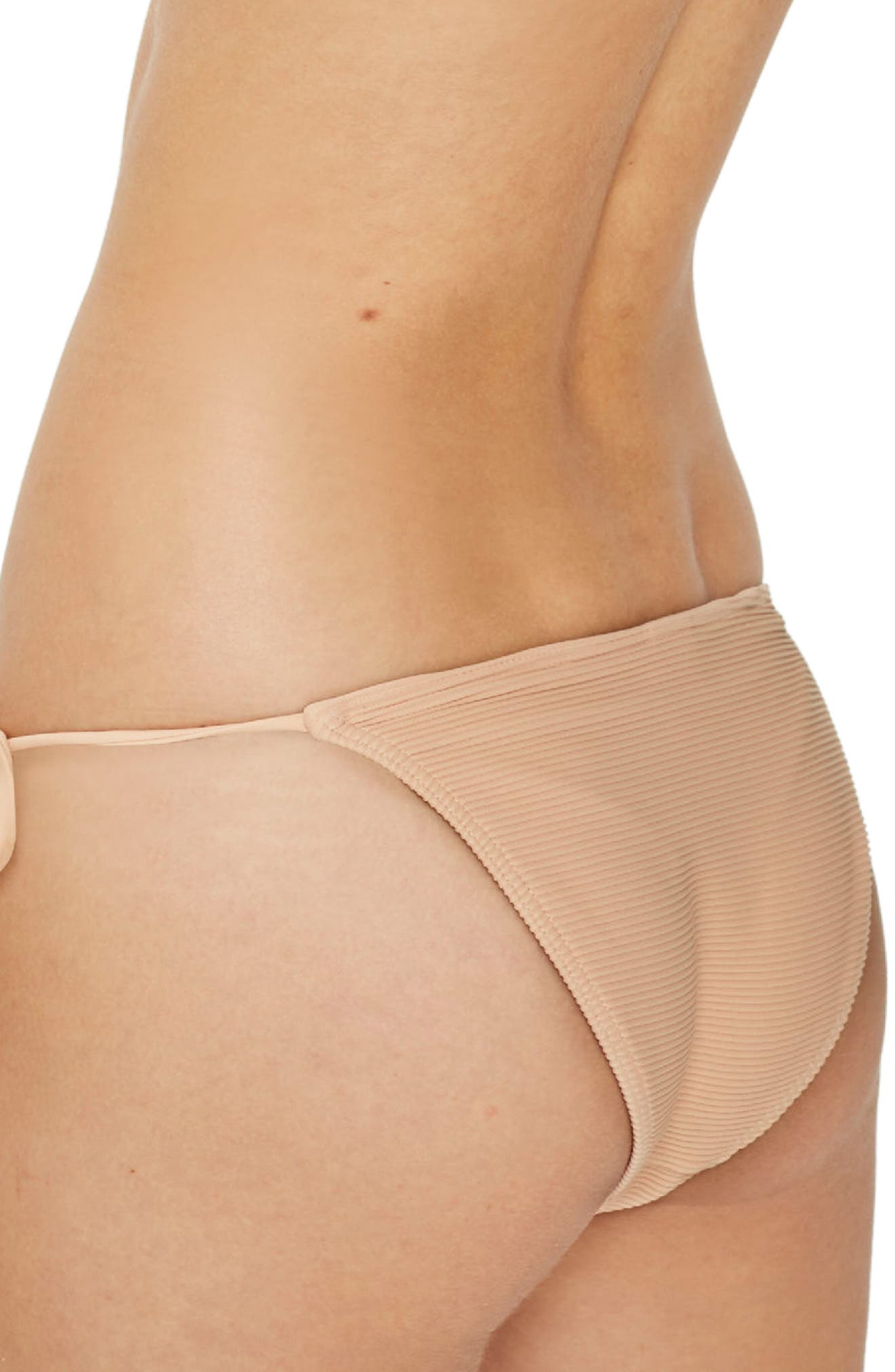 Ribbed Tie Bikini Bottoms,                             Alternate thumbnail 2, color,                             Nude