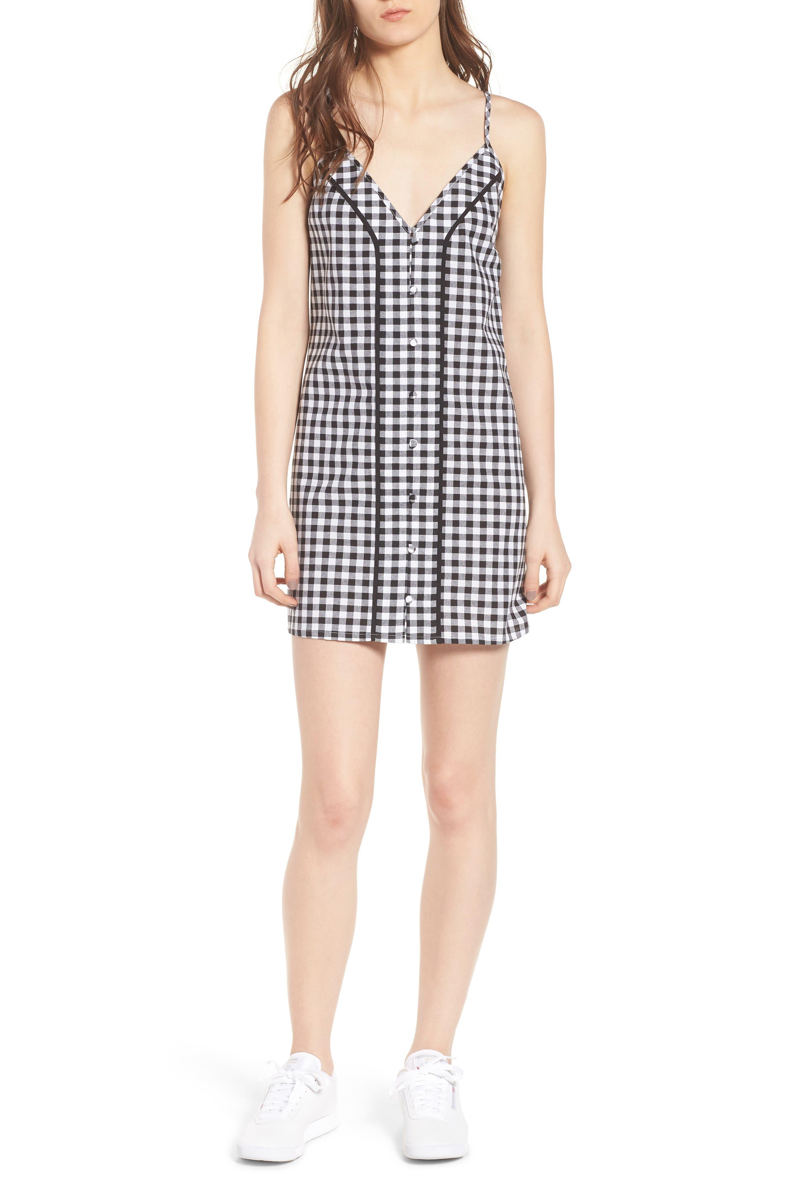 Idyllic Gingham Dress,                         Main,                         color, Black W White