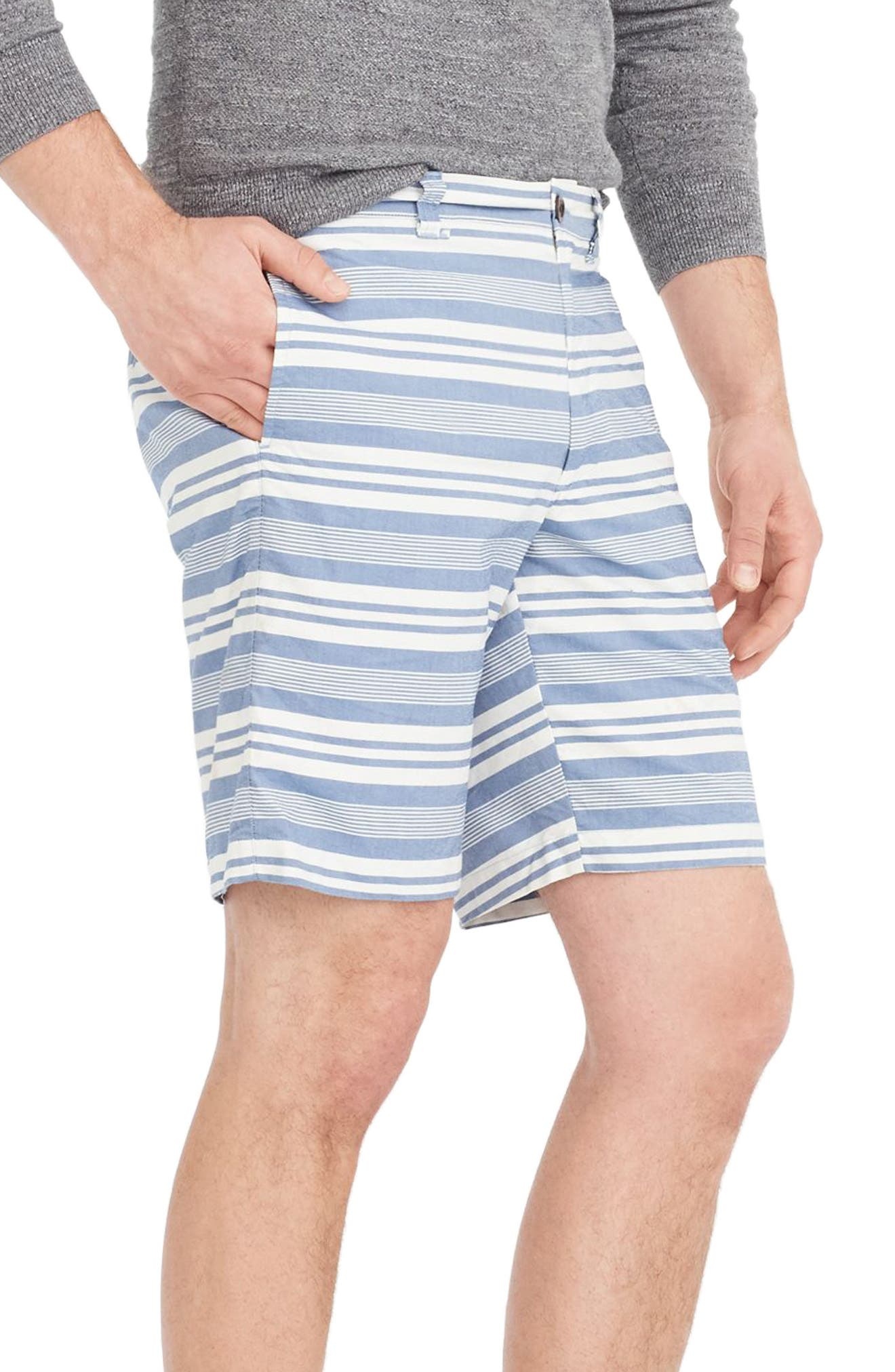 Stripe Oxford Shorts,                             Alternate thumbnail 3, color,                             White/ Blue