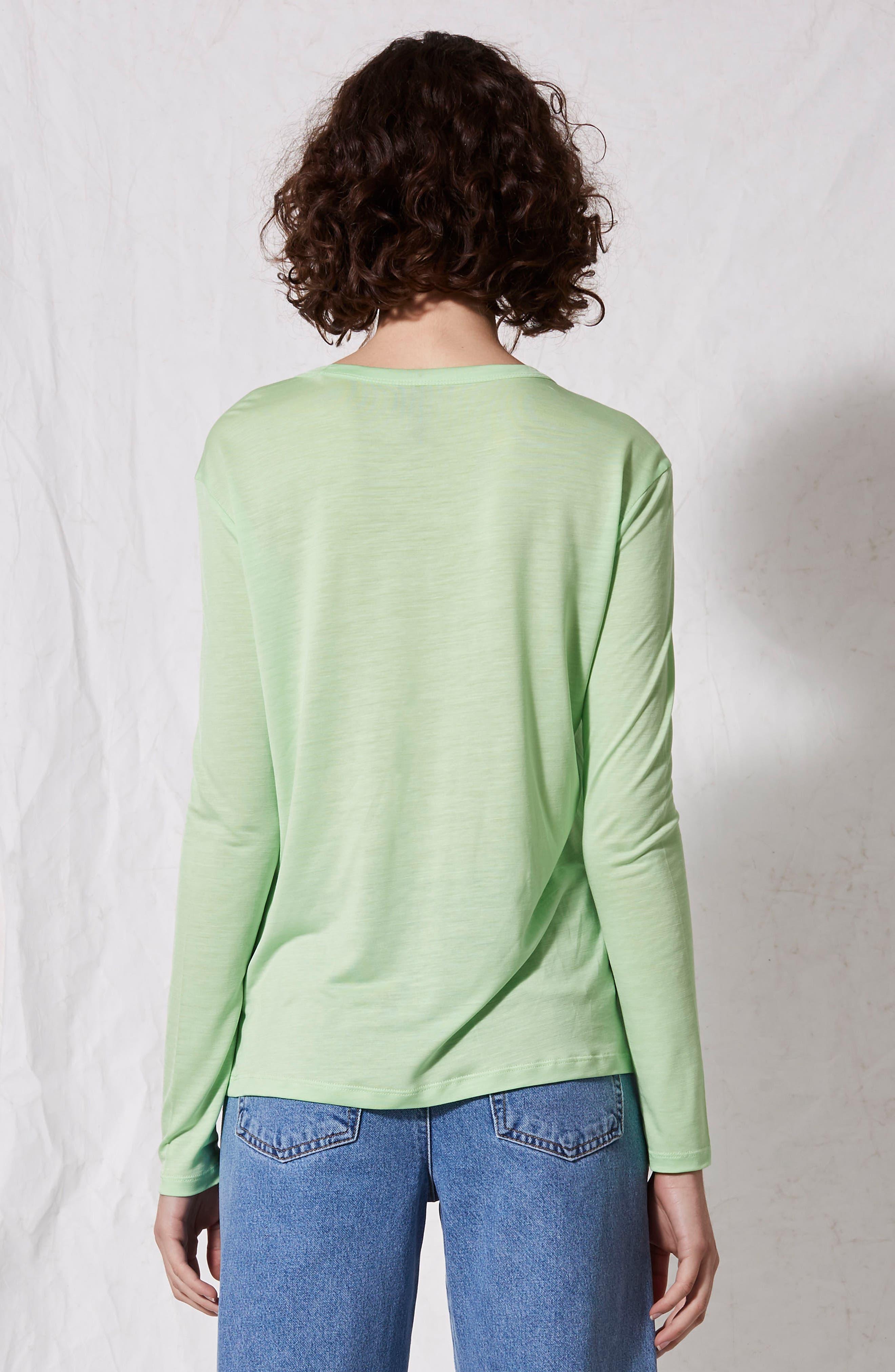 Lyocell Long Sleeve T-Shirt,                             Alternate thumbnail 7, color,                             Lime