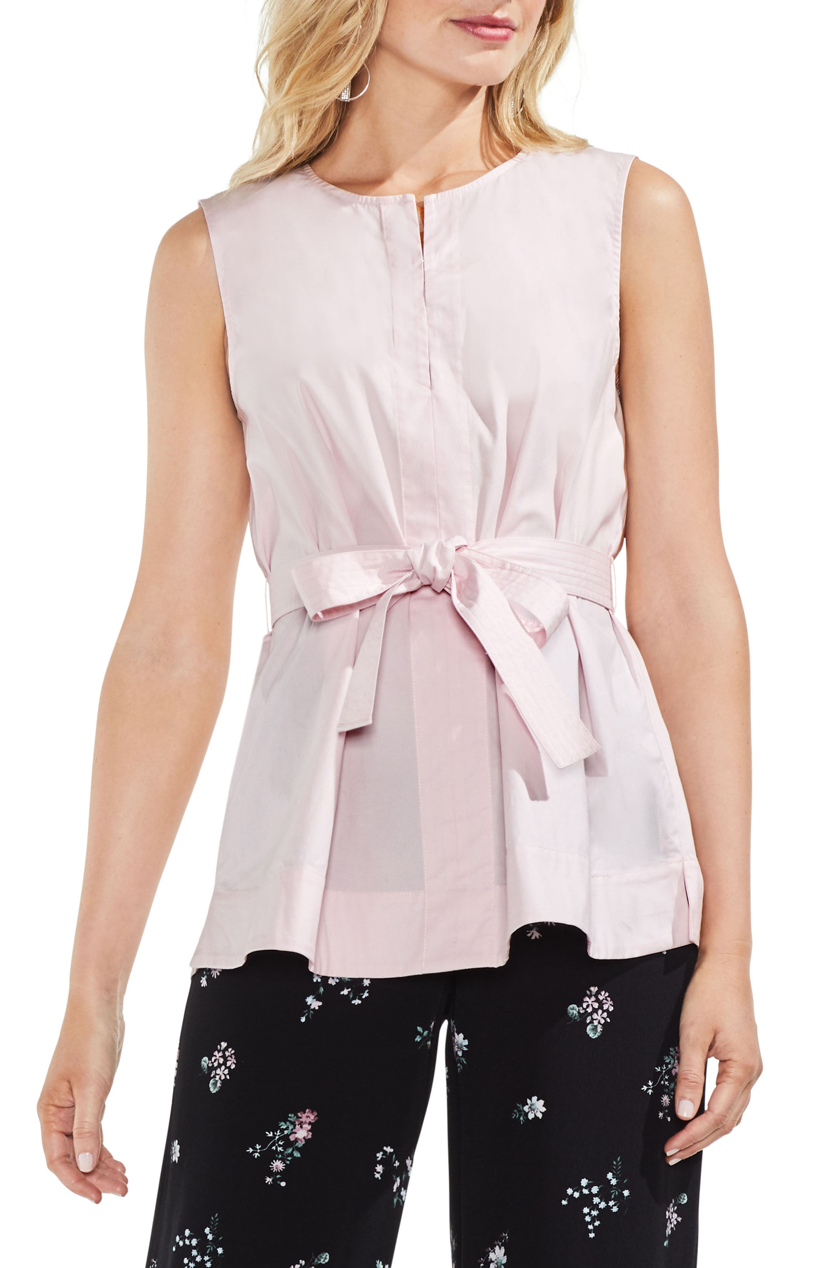 belted Poplin Blouse,                         Main,                         color, Pink Bliss
