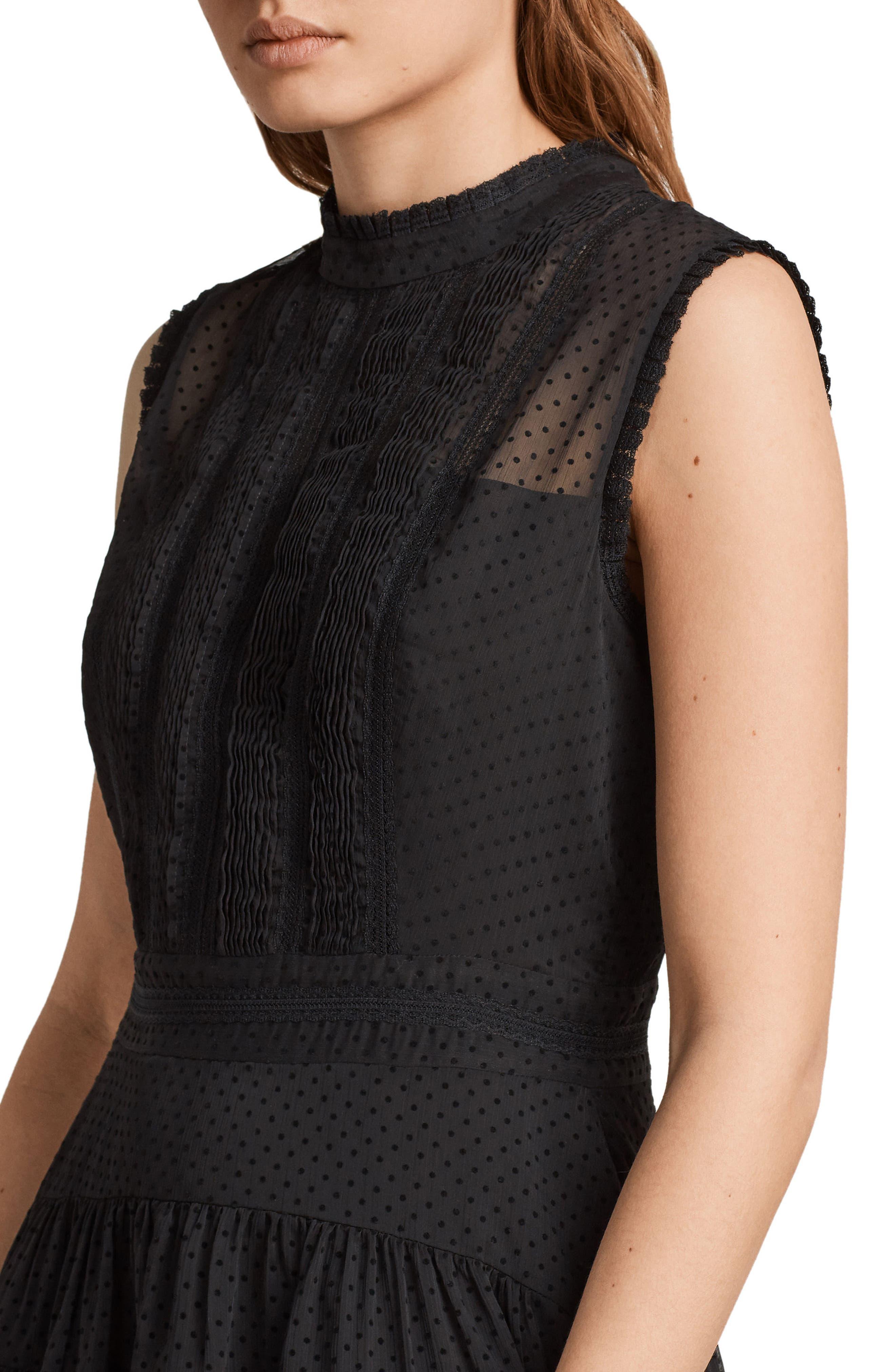 Myra Dot Pintuck Dress,                             Alternate thumbnail 4, color,                             Black