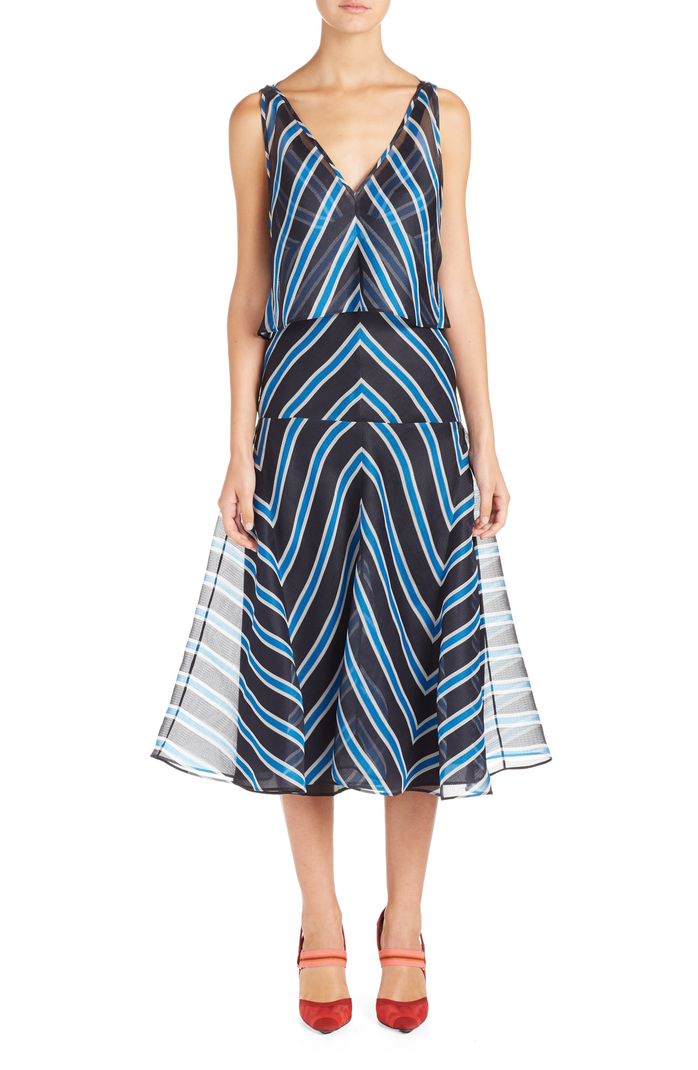 Stripe Silk Convertible Dress,                         Main,                         color, Mercury