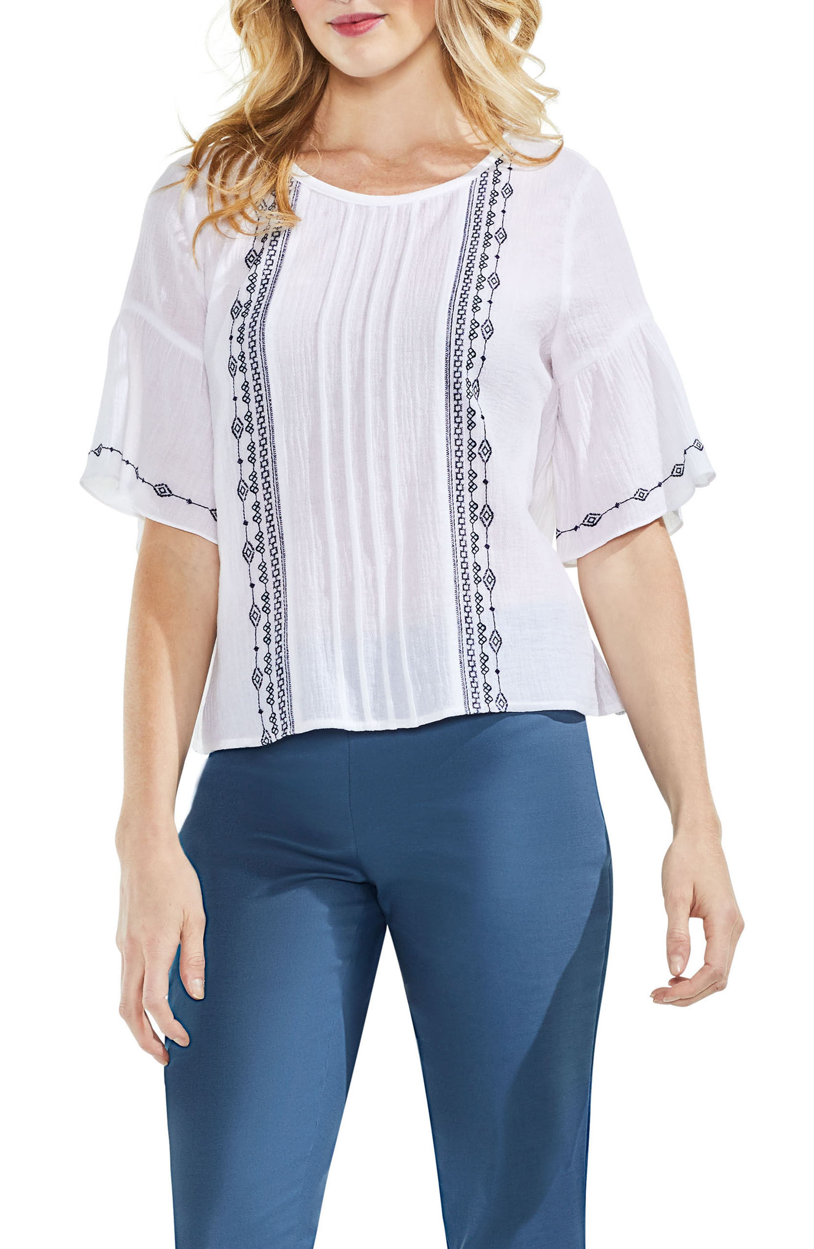 Embroidered Crinkle Cotton Top,                         Main,                         color, Ultra White