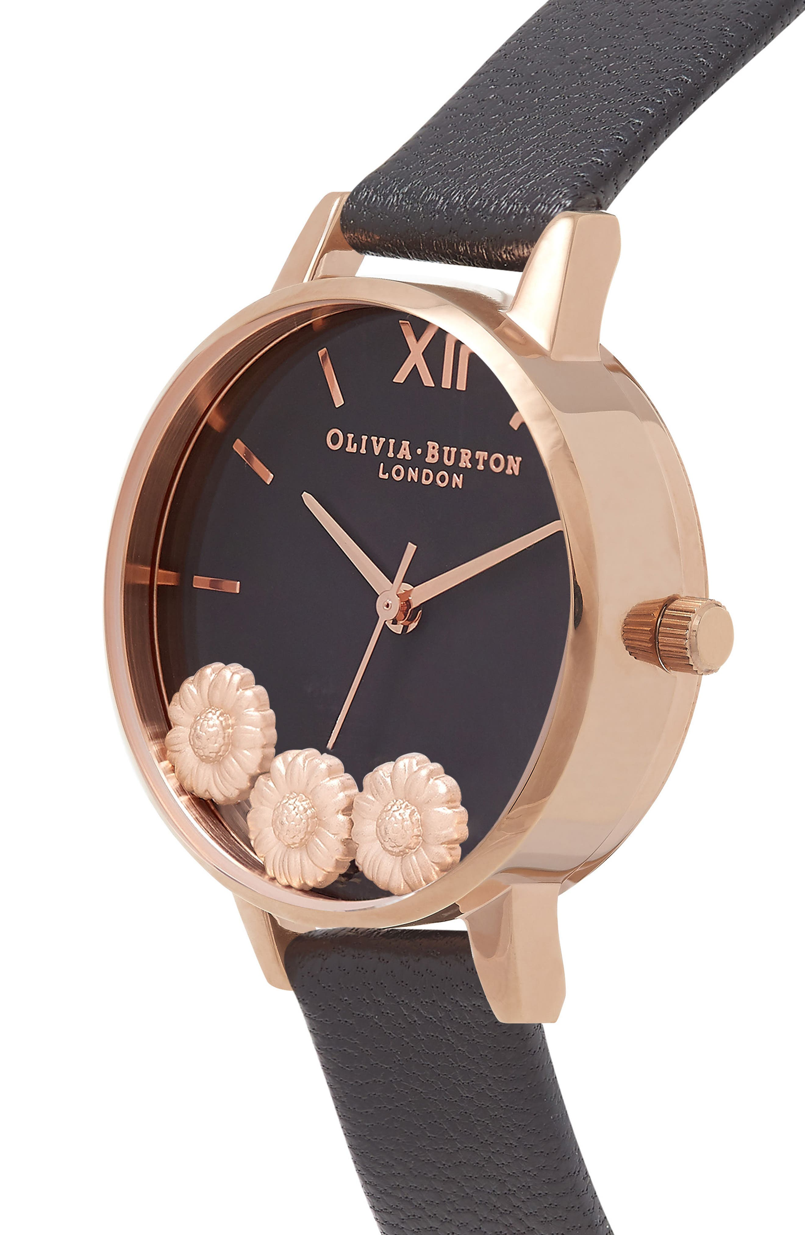 Dancing Daisy Leather Strap Watch, 30mm,                             Alternate thumbnail 2, color,                             Black/ Floral/ Rose Gold