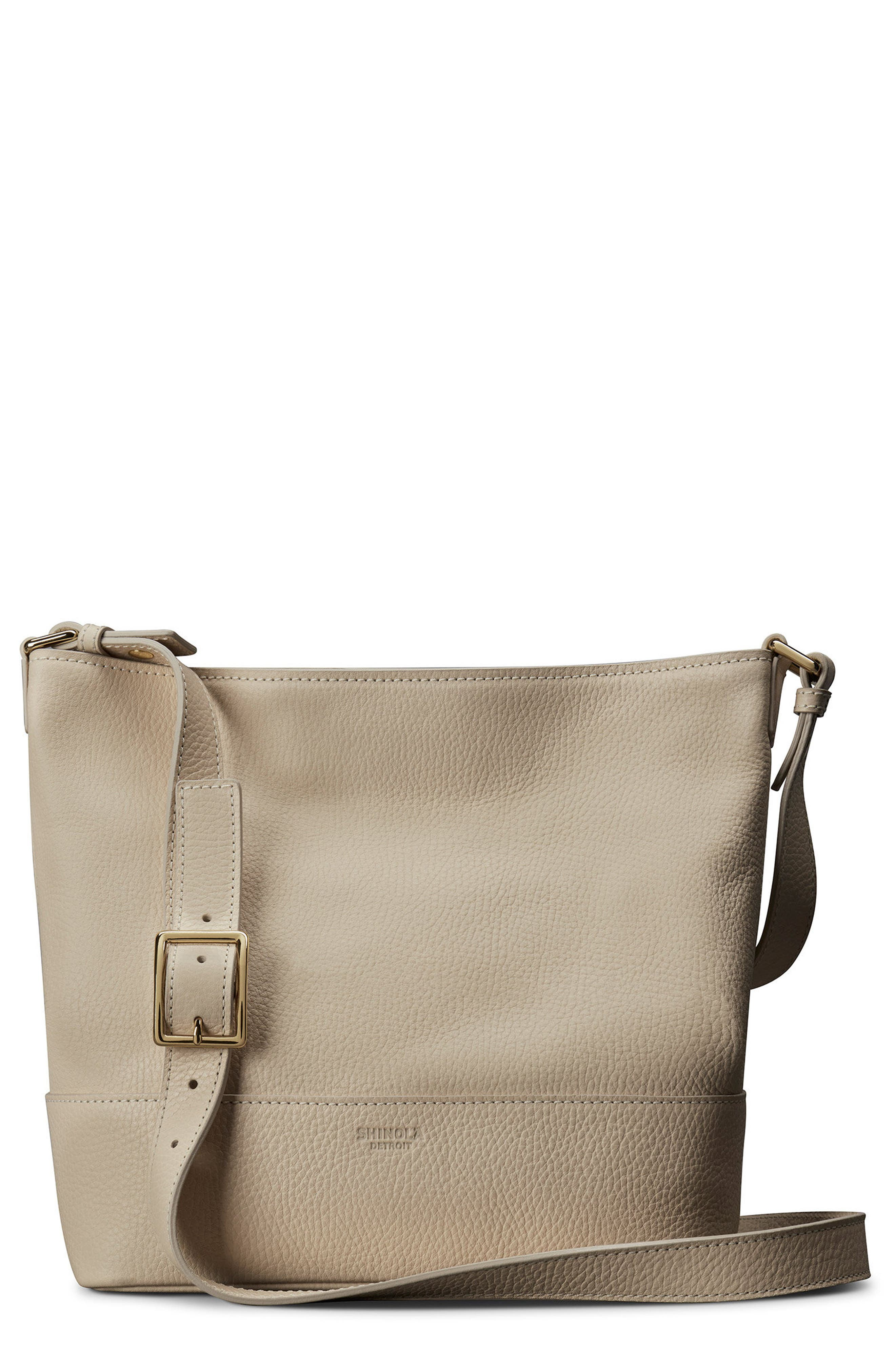 Small Relaxed Leather Hobo Bag,                             Main thumbnail 1, color,                             Stone