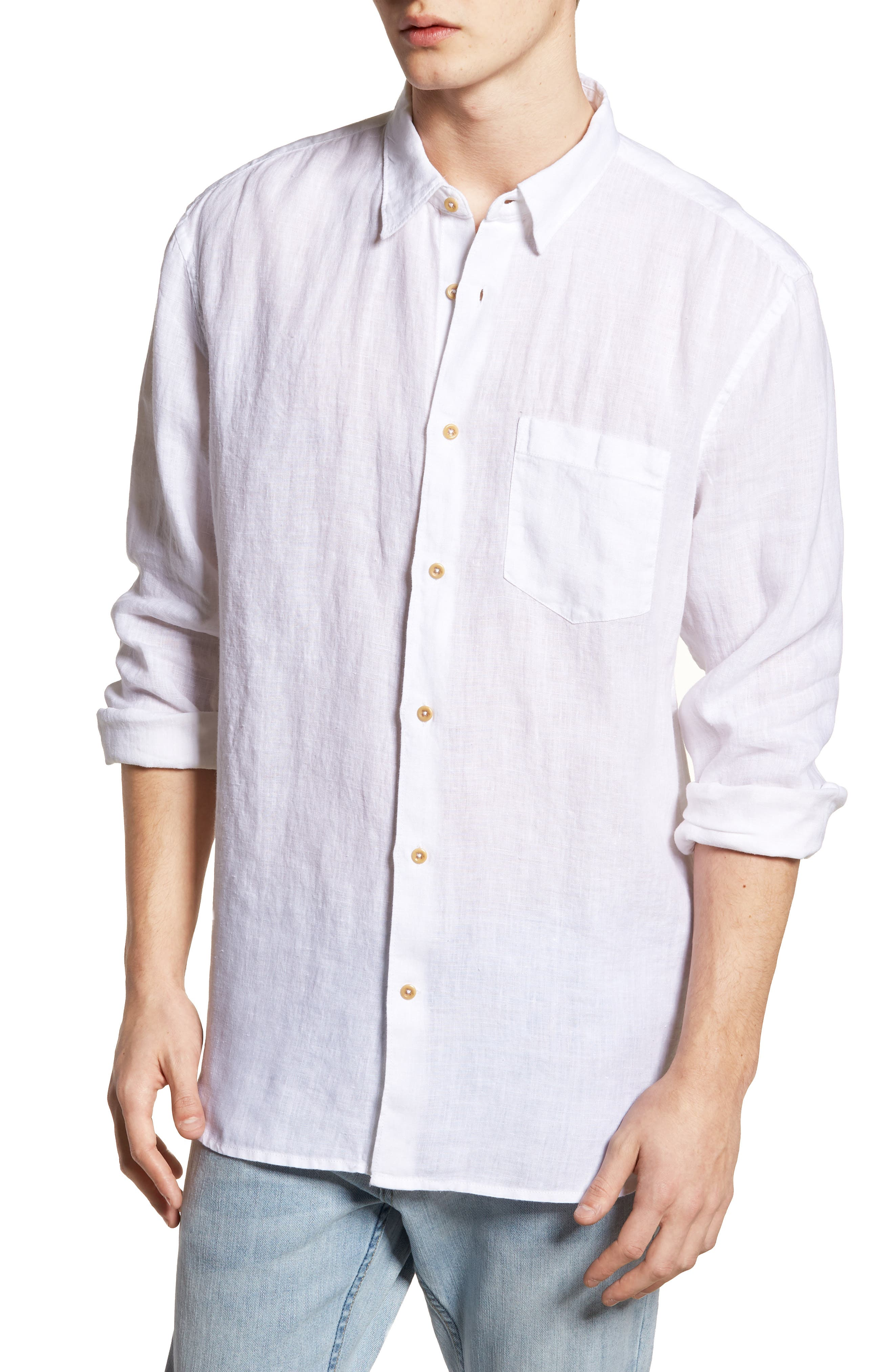 Relaxed Fit Solid Linen Sport Shirt,                         Main,                         color, White