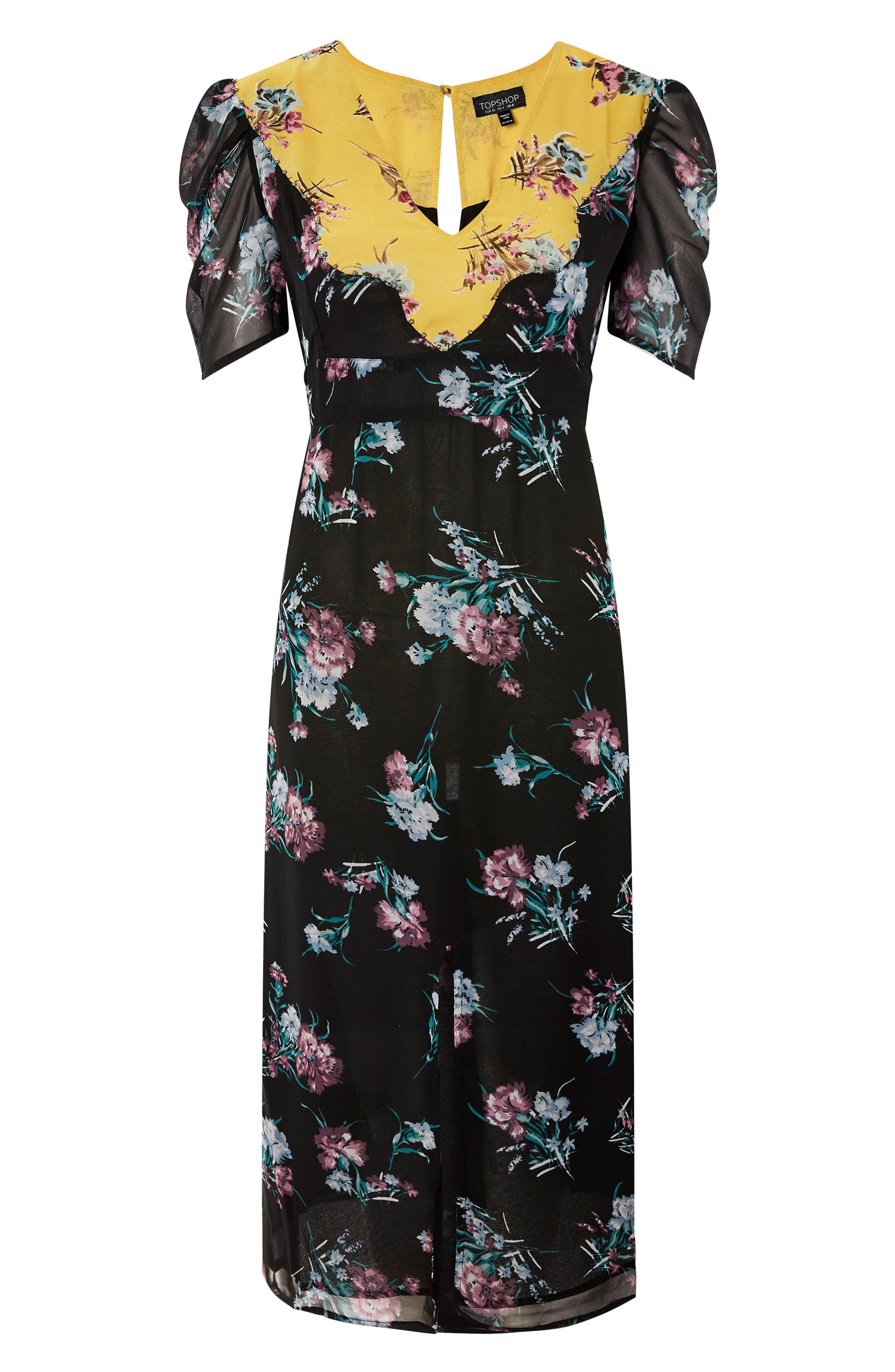 Rodeo Western Midi Dress,                             Alternate thumbnail 3, color,                             Black Multi
