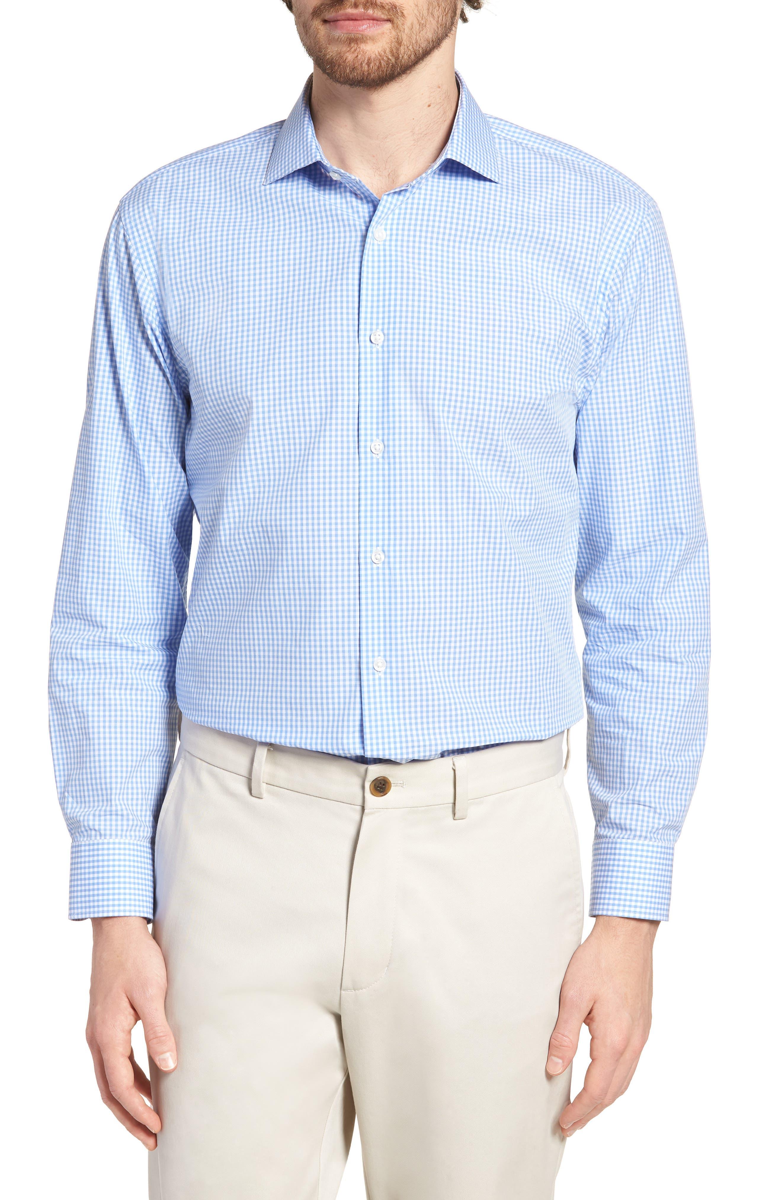Trim Fit Check Dress Shirt,                             Main thumbnail 1, color,                             Blue Cornflower