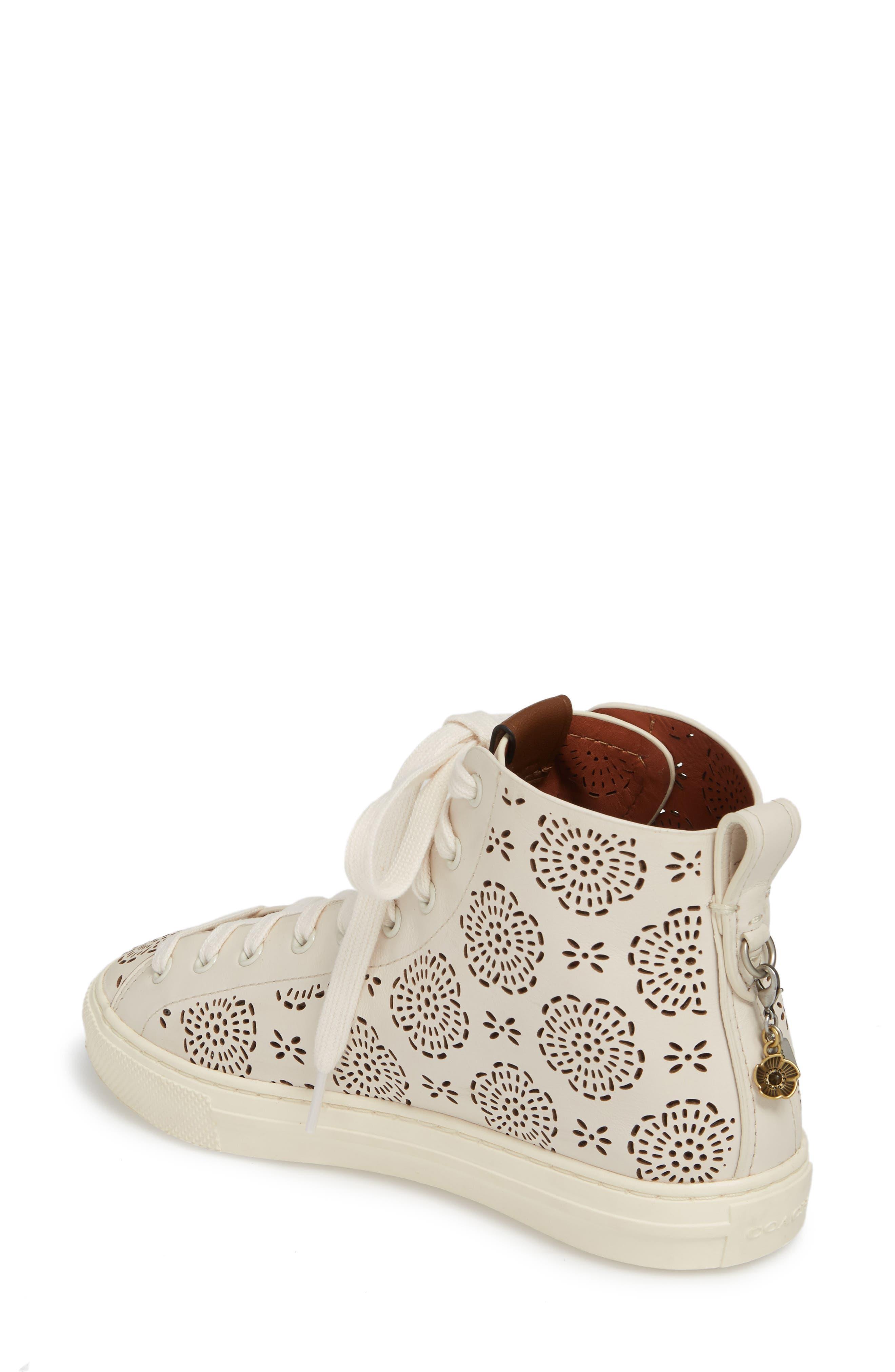 Tea Rose Cutout High Top Sneaker,                             Alternate thumbnail 2, color,                             Chalk Leather