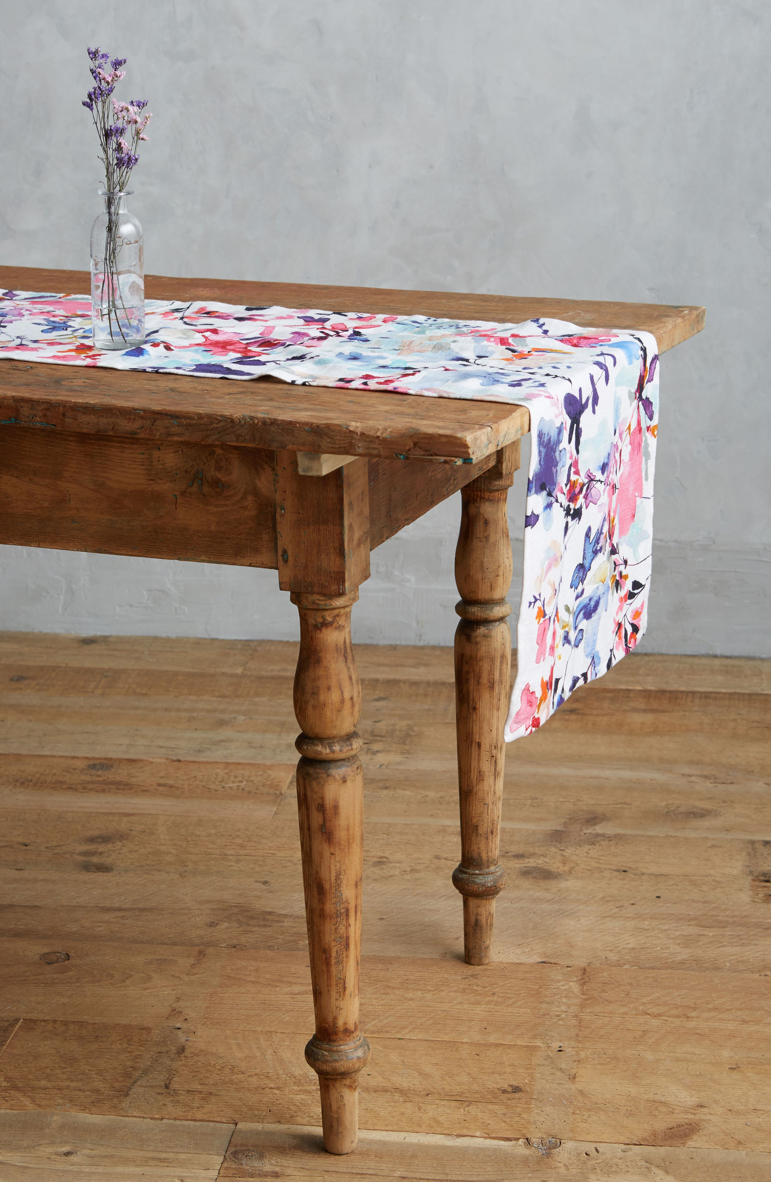 Wildflower Study Table Runner,                             Main thumbnail 1, color,                             Pink Multi