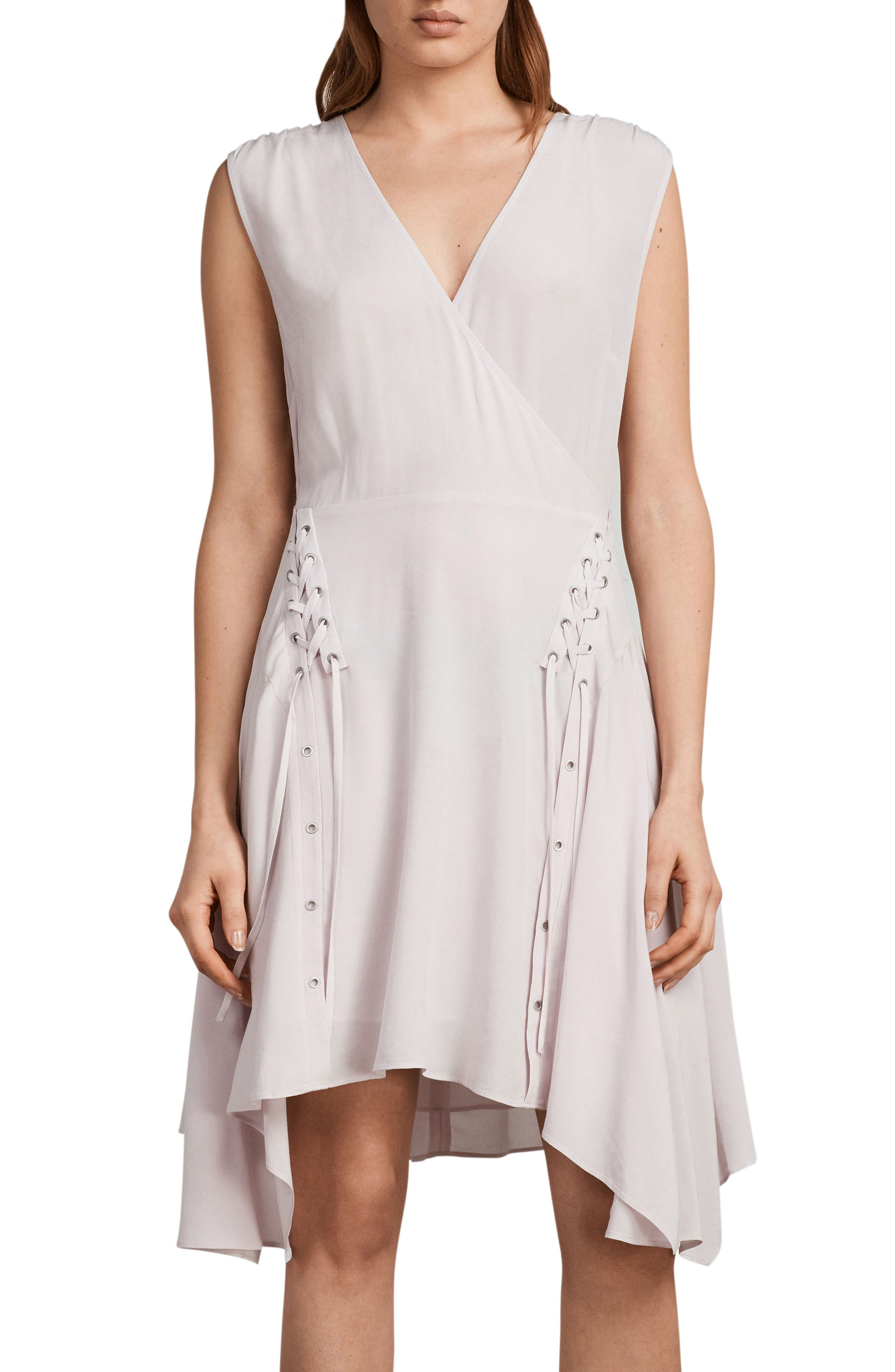Miller Lace-Up Dress,                         Main,                         color, Lilac Pink