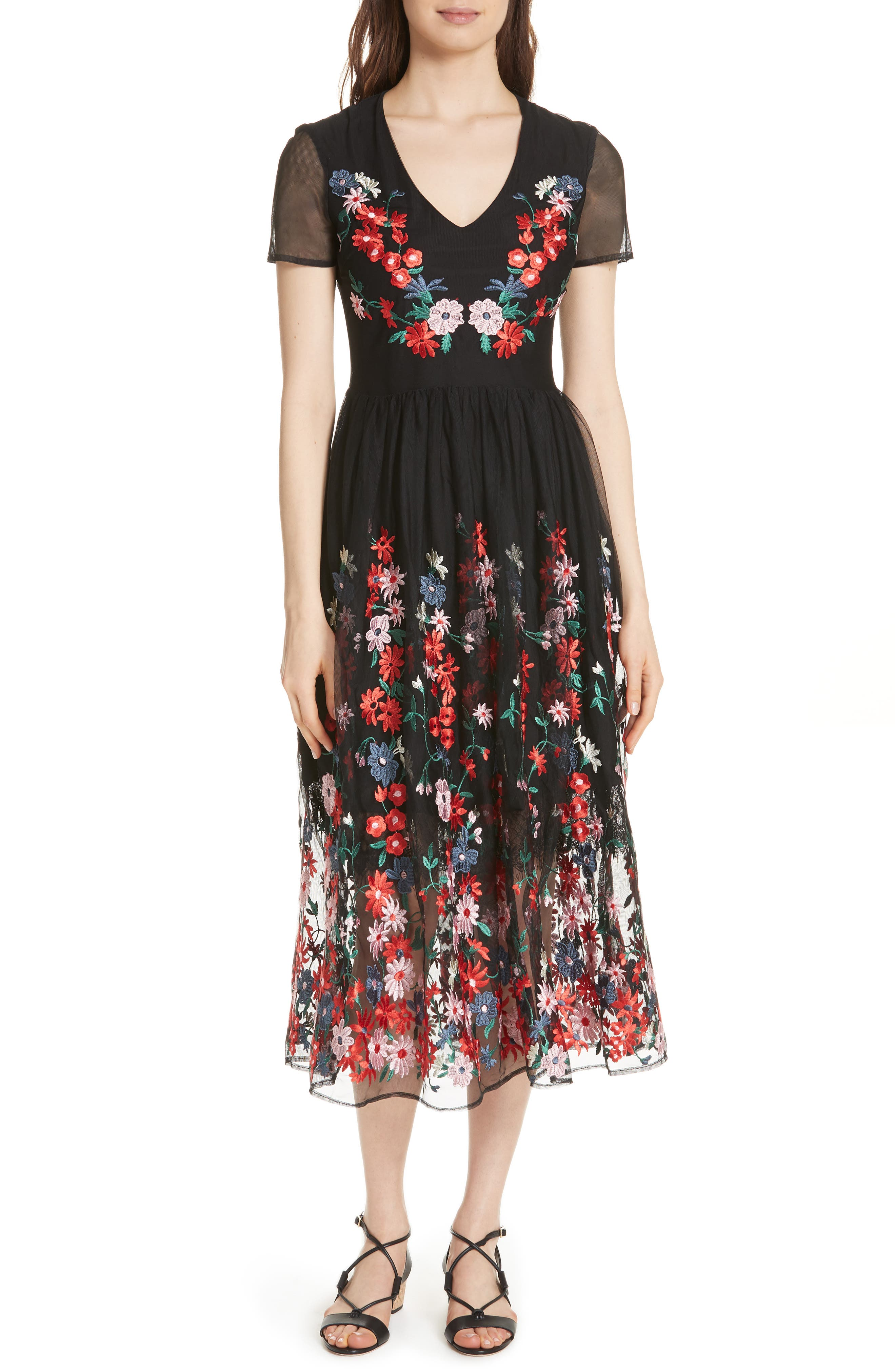 Raphael Embroidered Midi Dress,                             Main thumbnail 1, color,                             Black 210