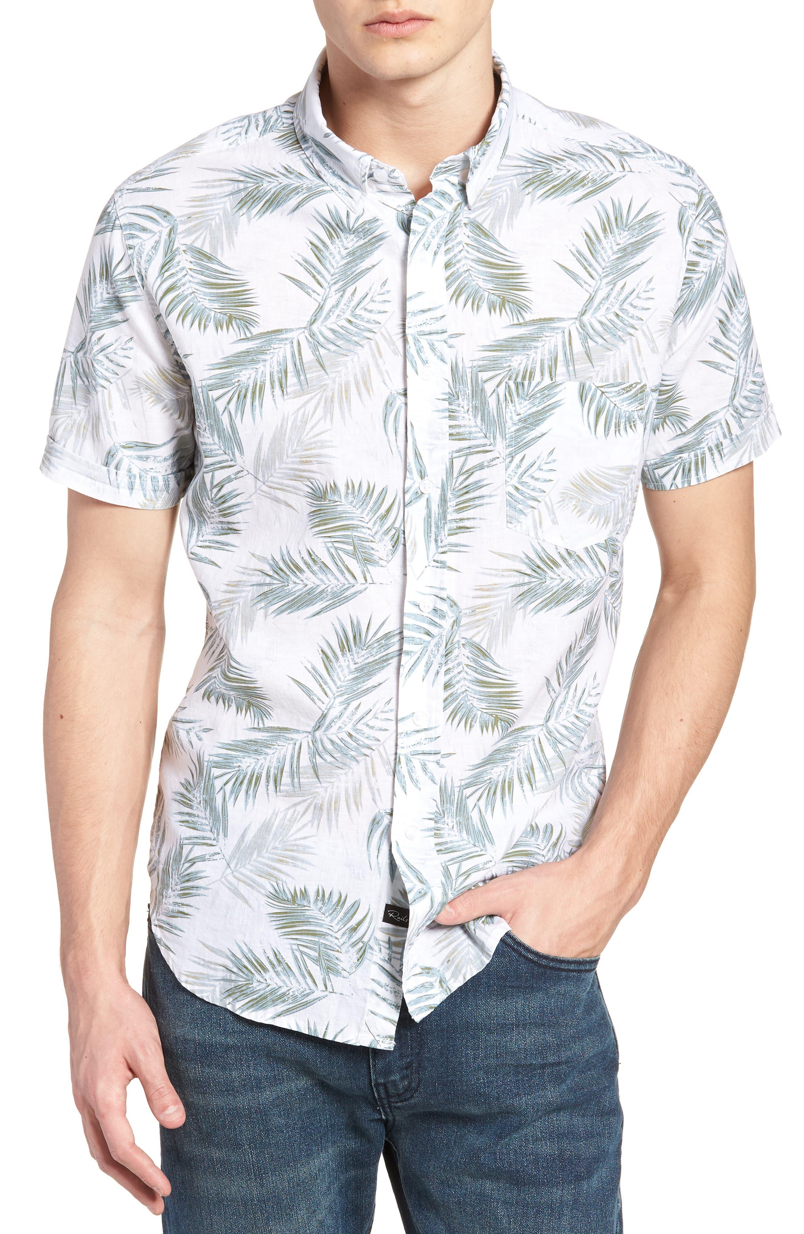 Carson Slim Fit Fern Print Sport Shirt,                         Main,                         color, Fern Print