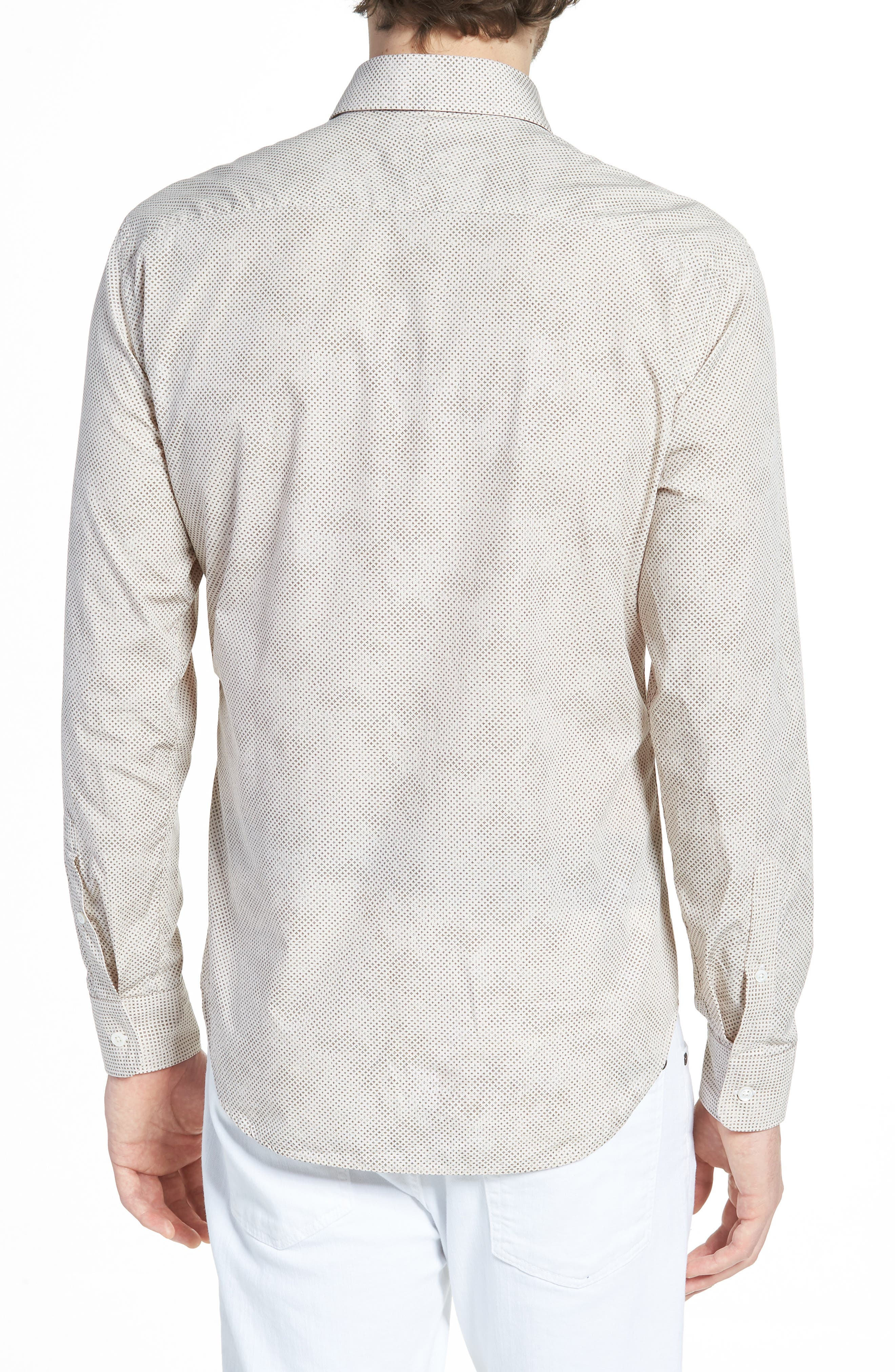 Kirby Sport Shirt,                             Alternate thumbnail 3, color,                             Natural/ Brown