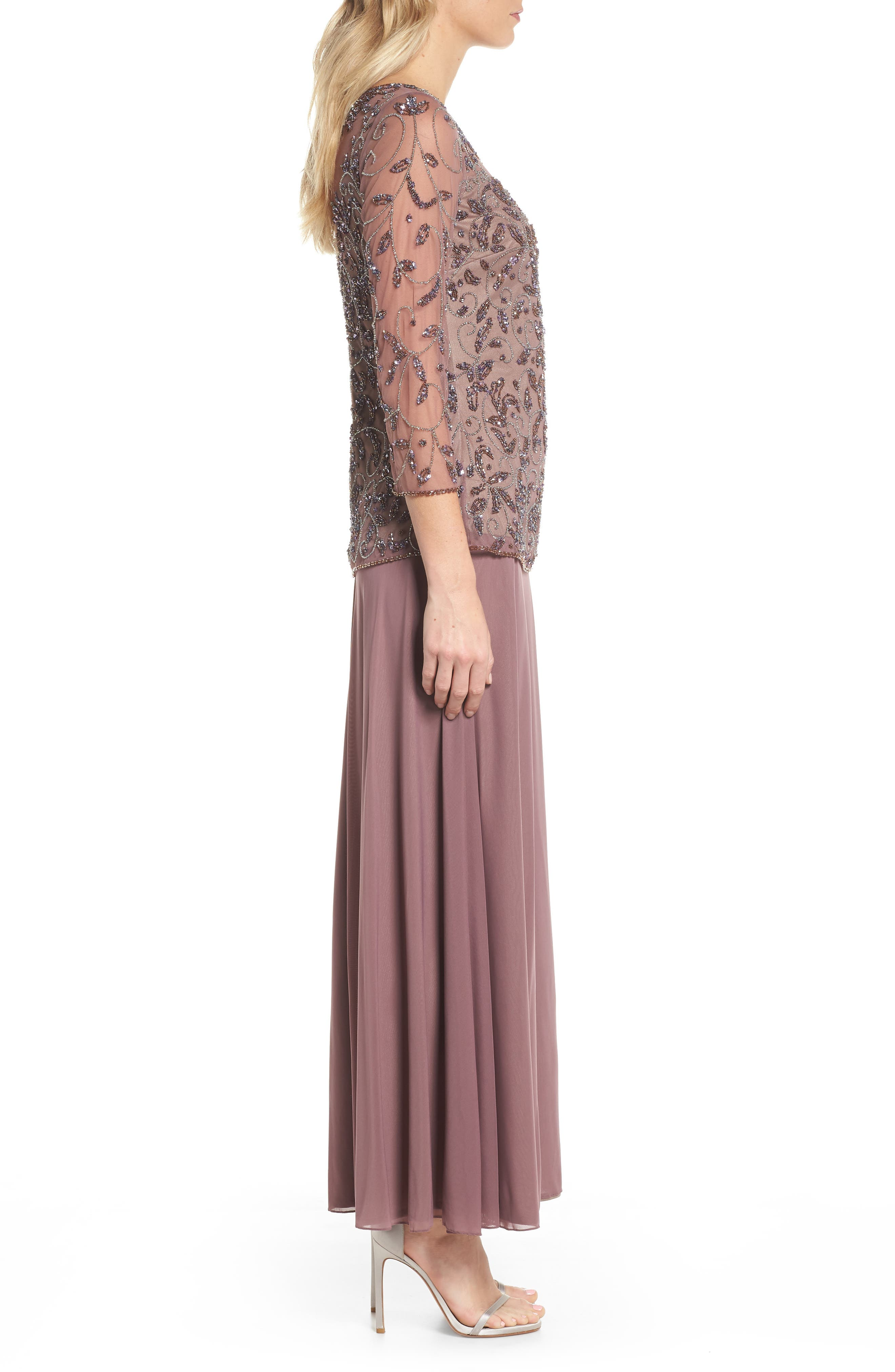 Beaded Mesh Mock Two-Piece Gown,                             Alternate thumbnail 3, color,                             Lavender