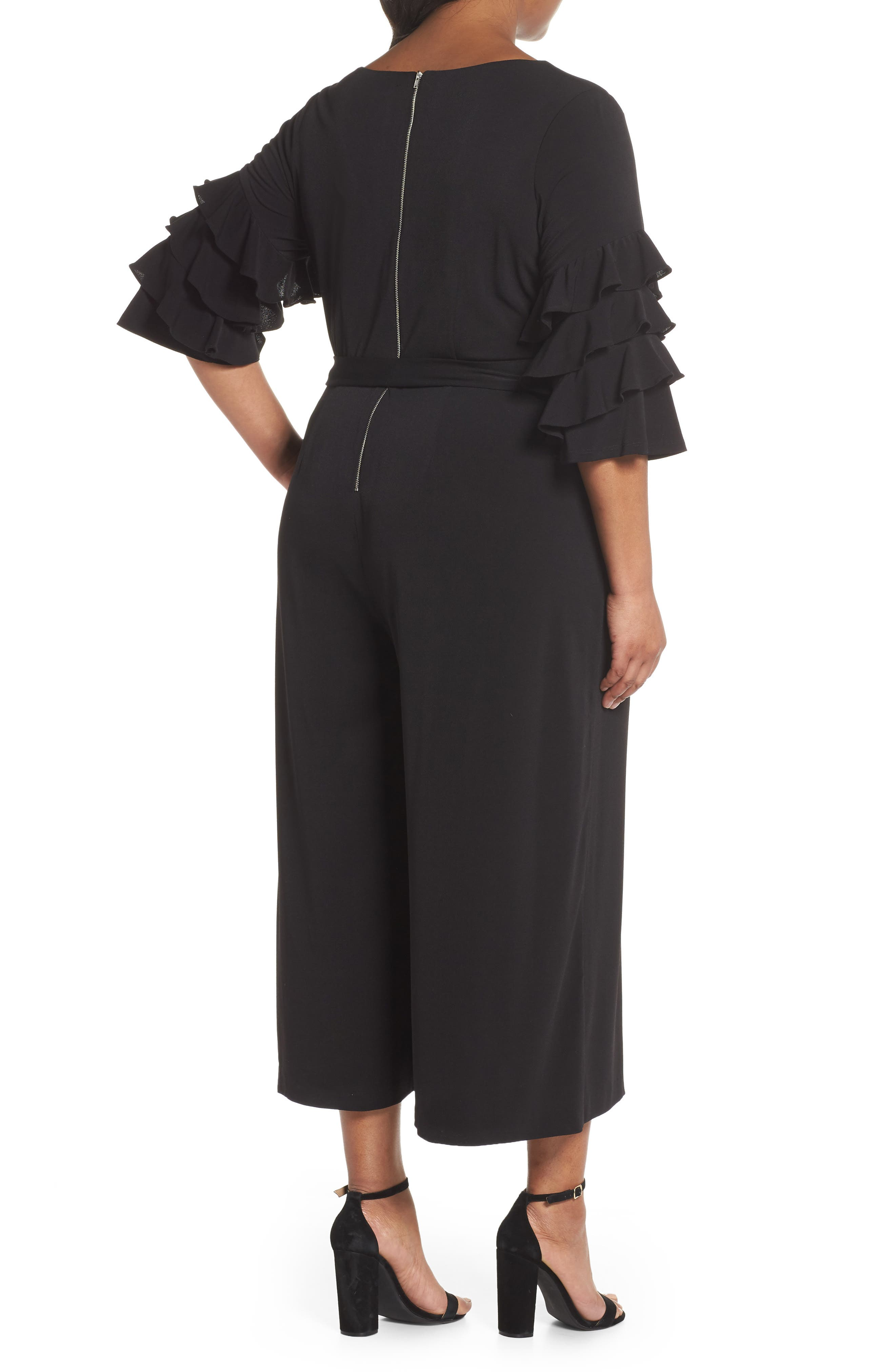 Tiered Ruffle Sleeve Crepe Jumpsuit,                             Alternate thumbnail 2, color,                             Black