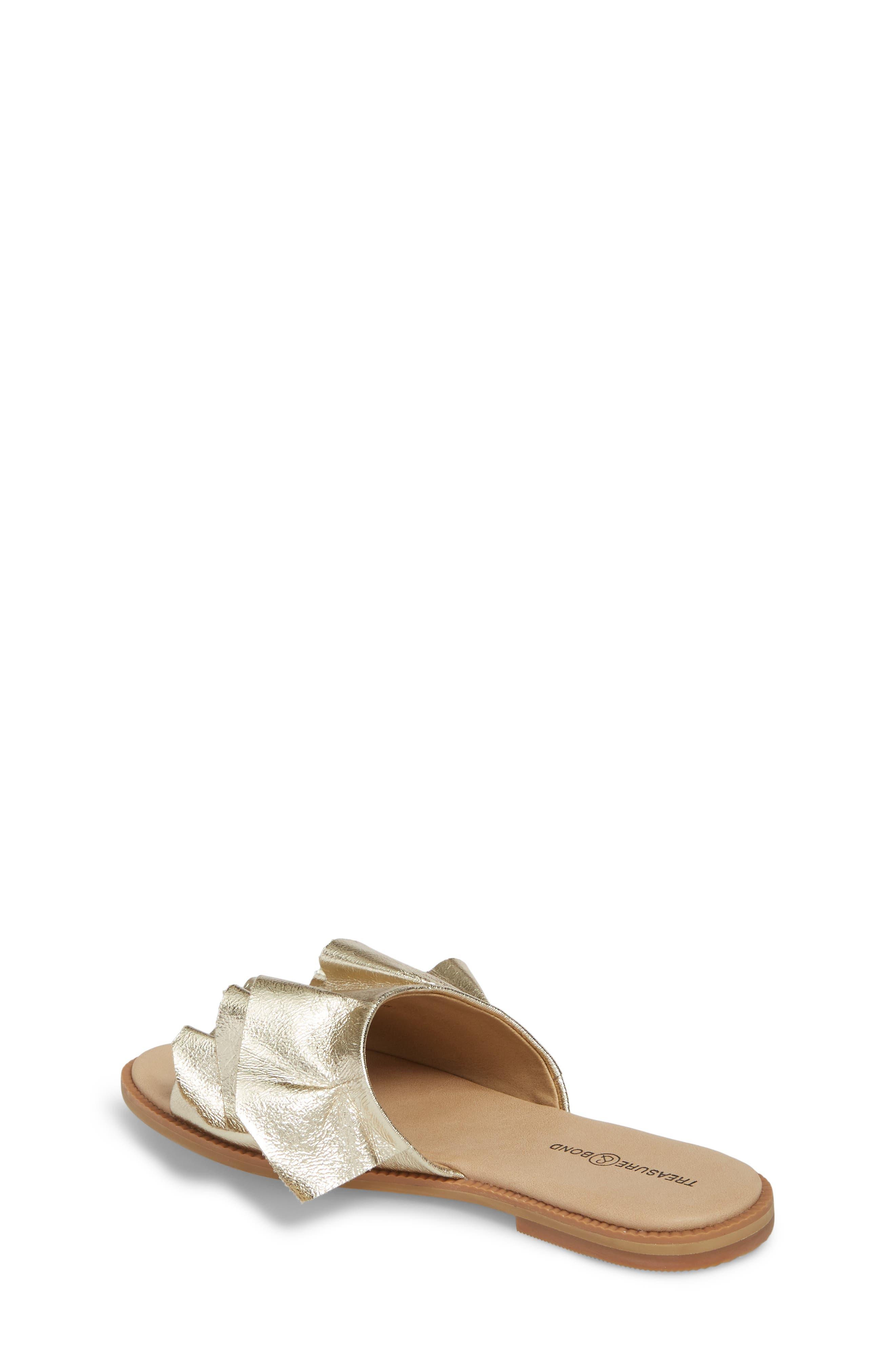 Ruby Ruffled Slide Sandal,                             Alternate thumbnail 2, color,                             Gold Crackle Faux Leather