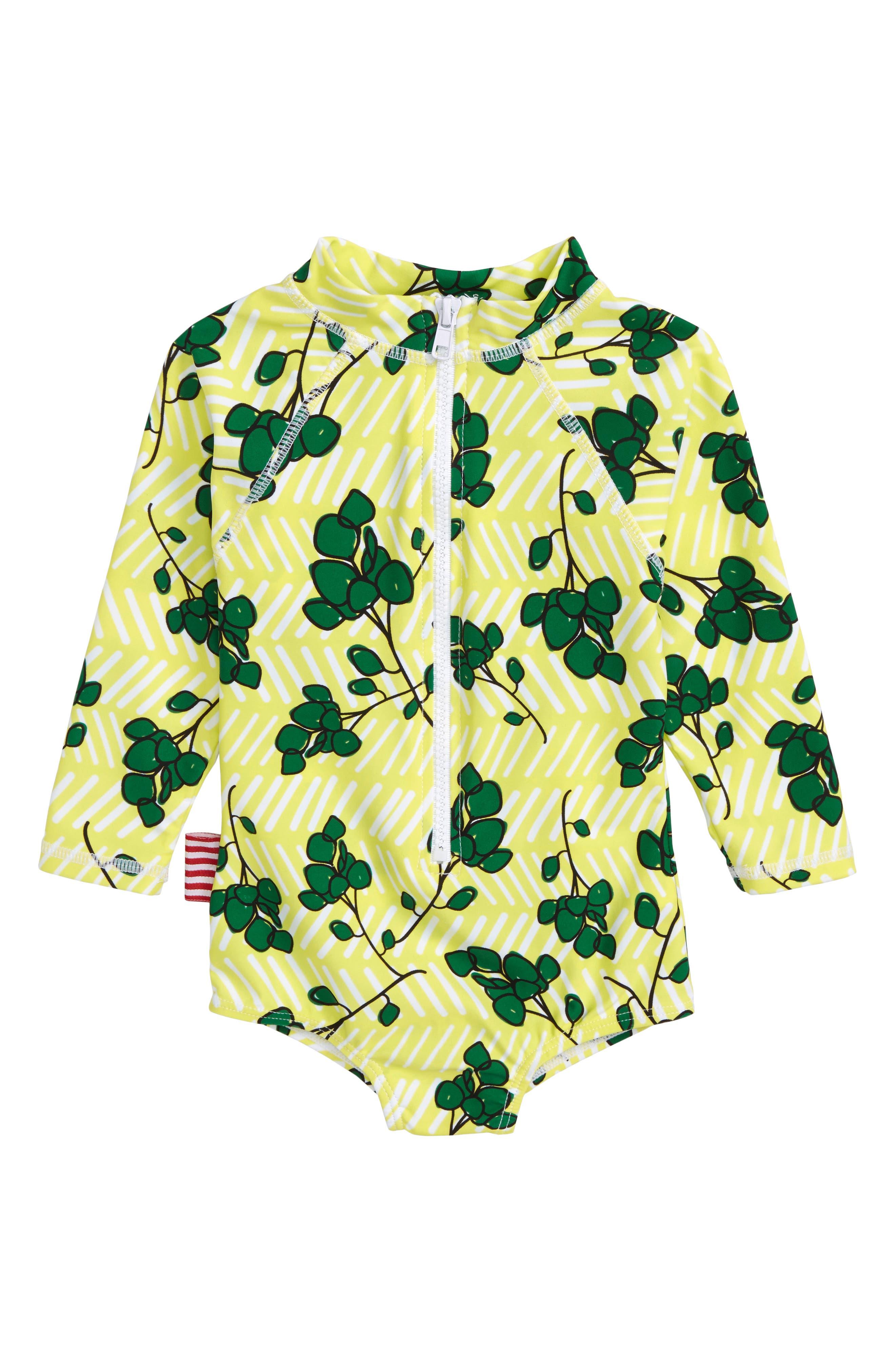 Limun One-Piece Rashguard Swimsuit,                         Main,                         color, Yellow