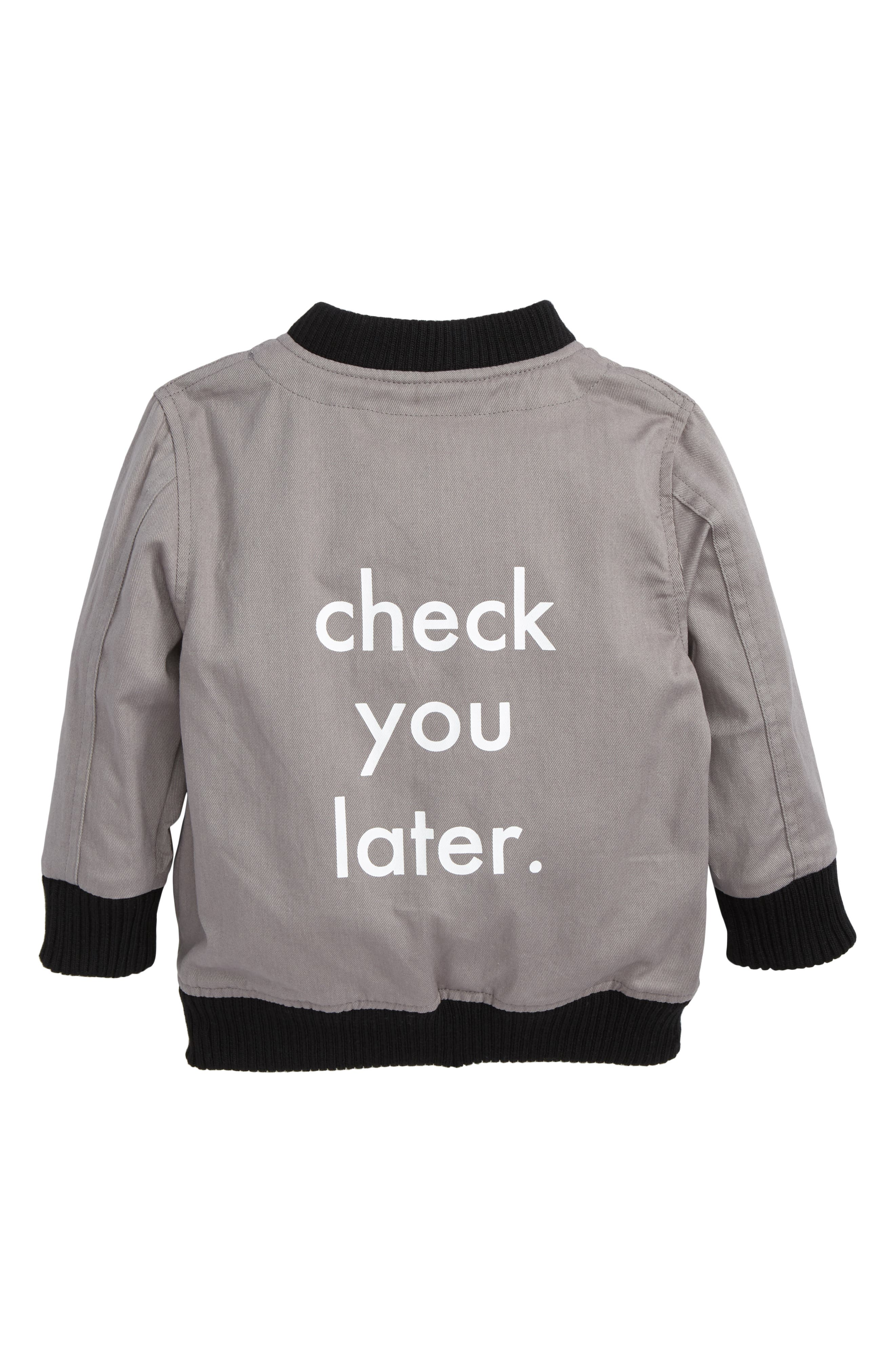 Check You Later Bomber Jacket,                             Alternate thumbnail 2, color,                             Grey